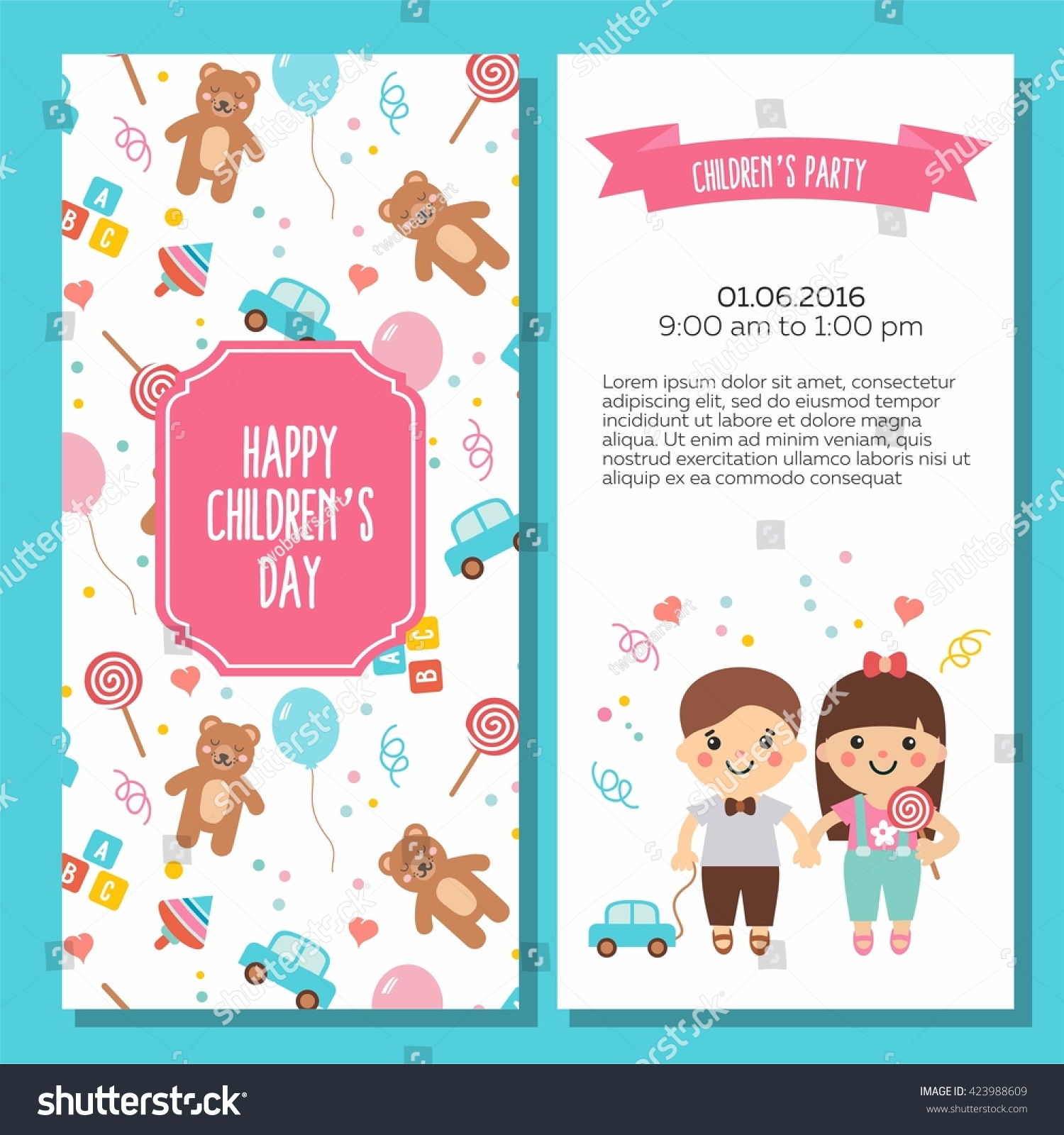 Happy Childrens Day Lovely Card Funny Stock Vector