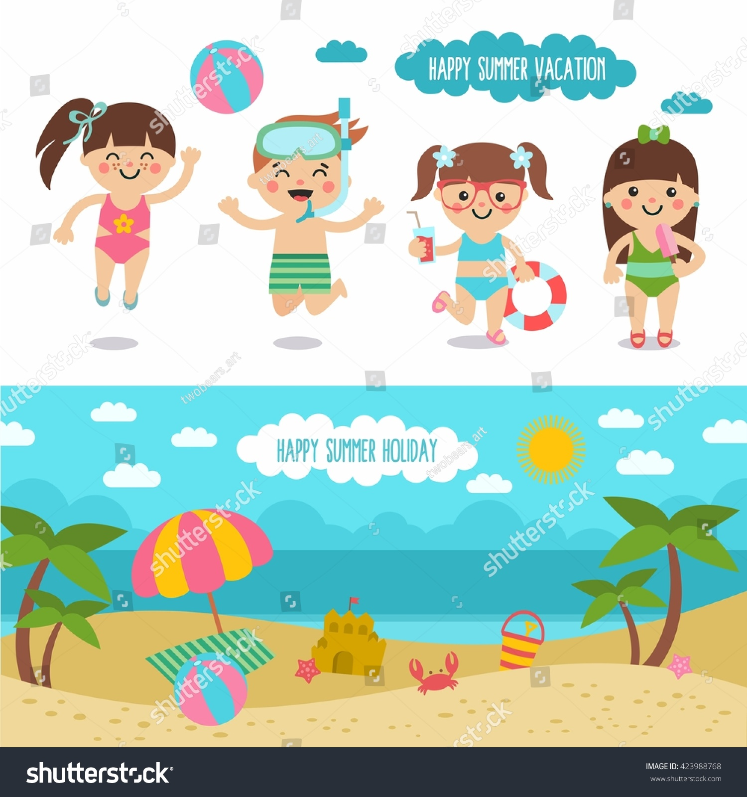 Happy Summer Vacation Awesome Cartoon Beach Landscape And Funny Kids Character Boys Girls