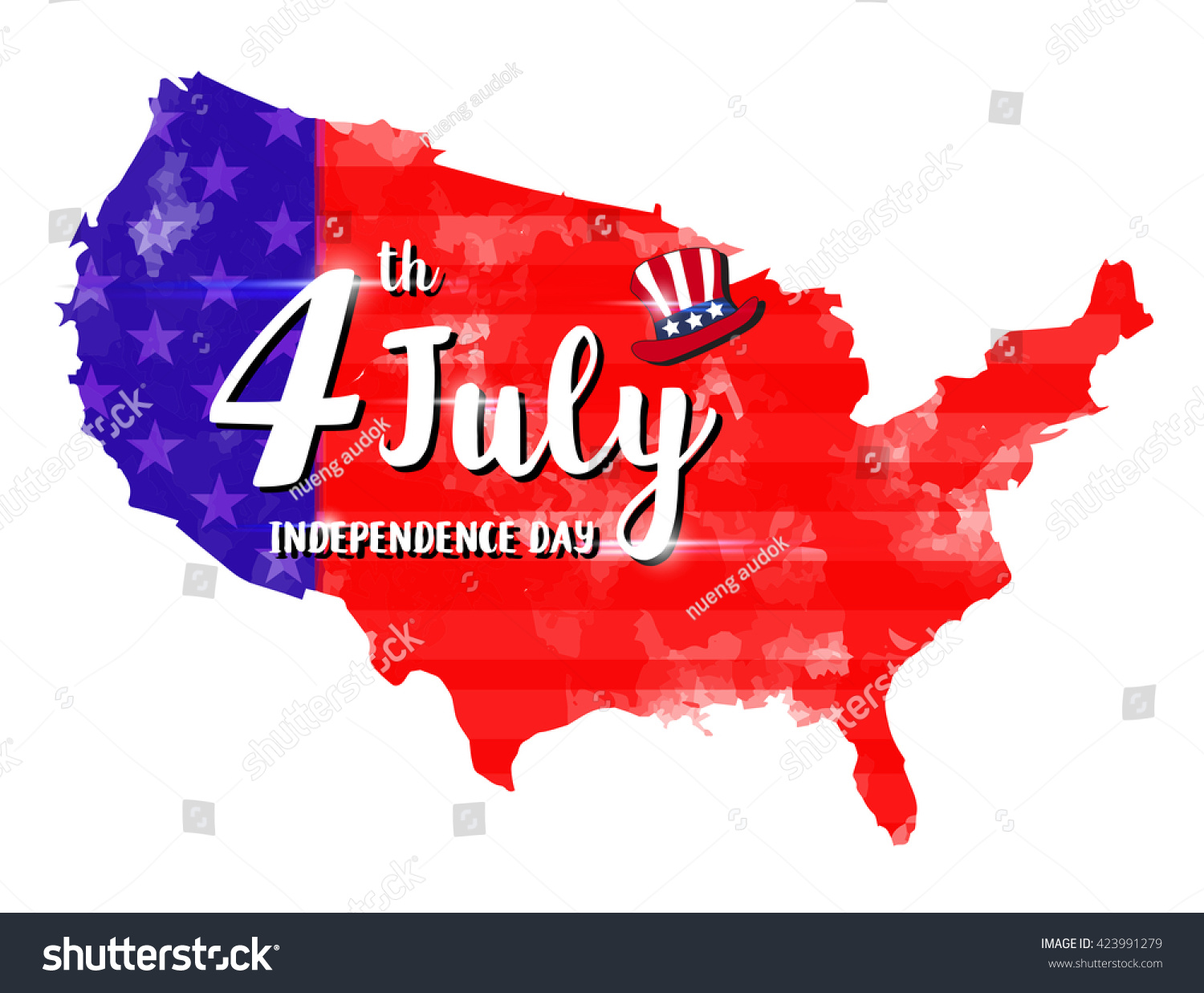 Vector Illustration July Independence Day Stock Vector - Watercolor us map