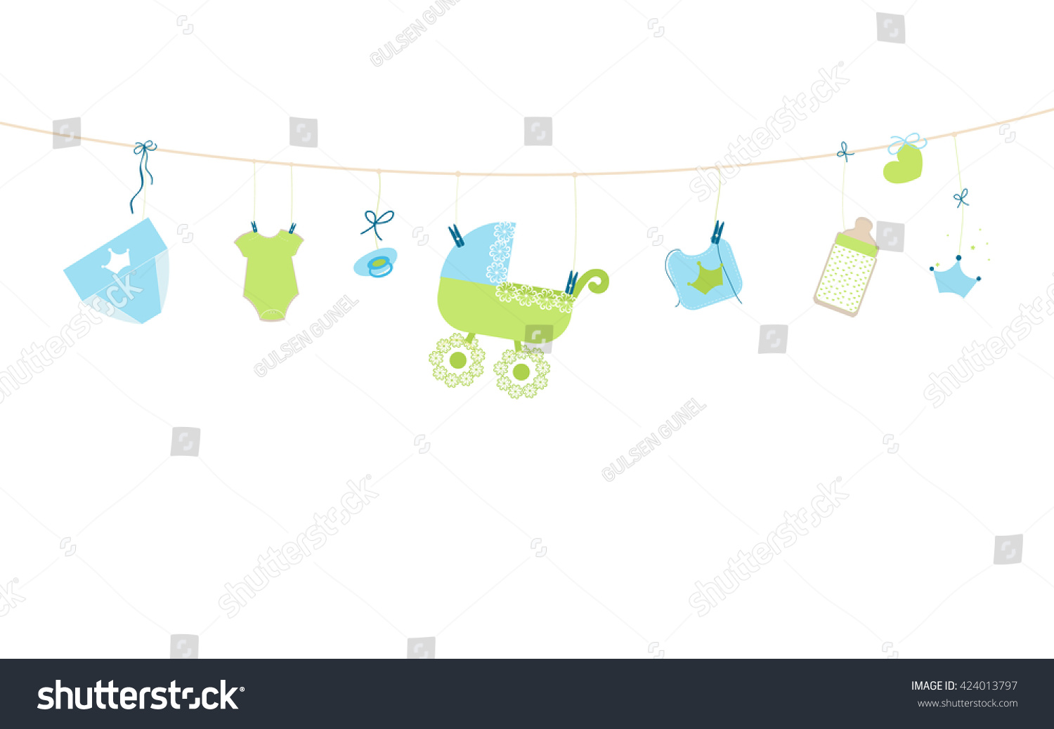 Baby shower card baby boy hanging stock vector 424013797 baby shower card baby boy hanging symbols illustration buycottarizona Gallery