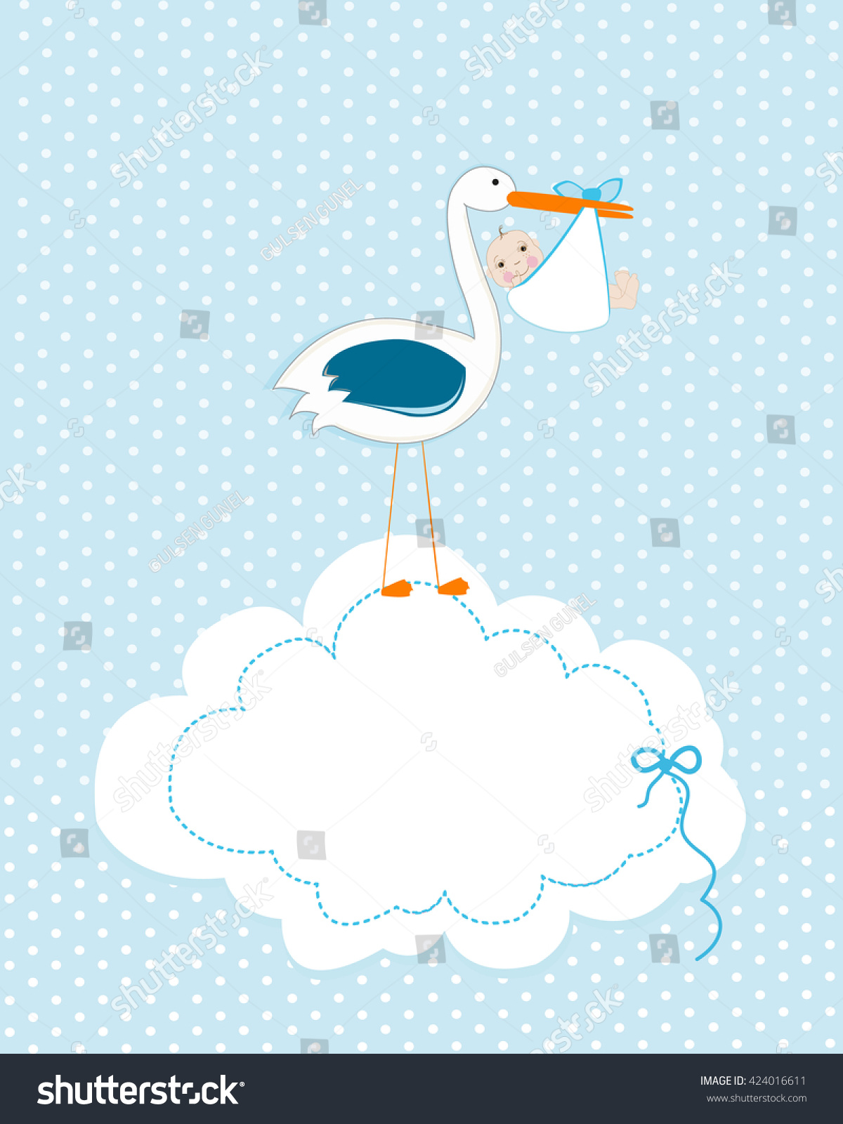 Baby Boy Stork Baby Arrival Greeting Stock Vector 424016611 ...
