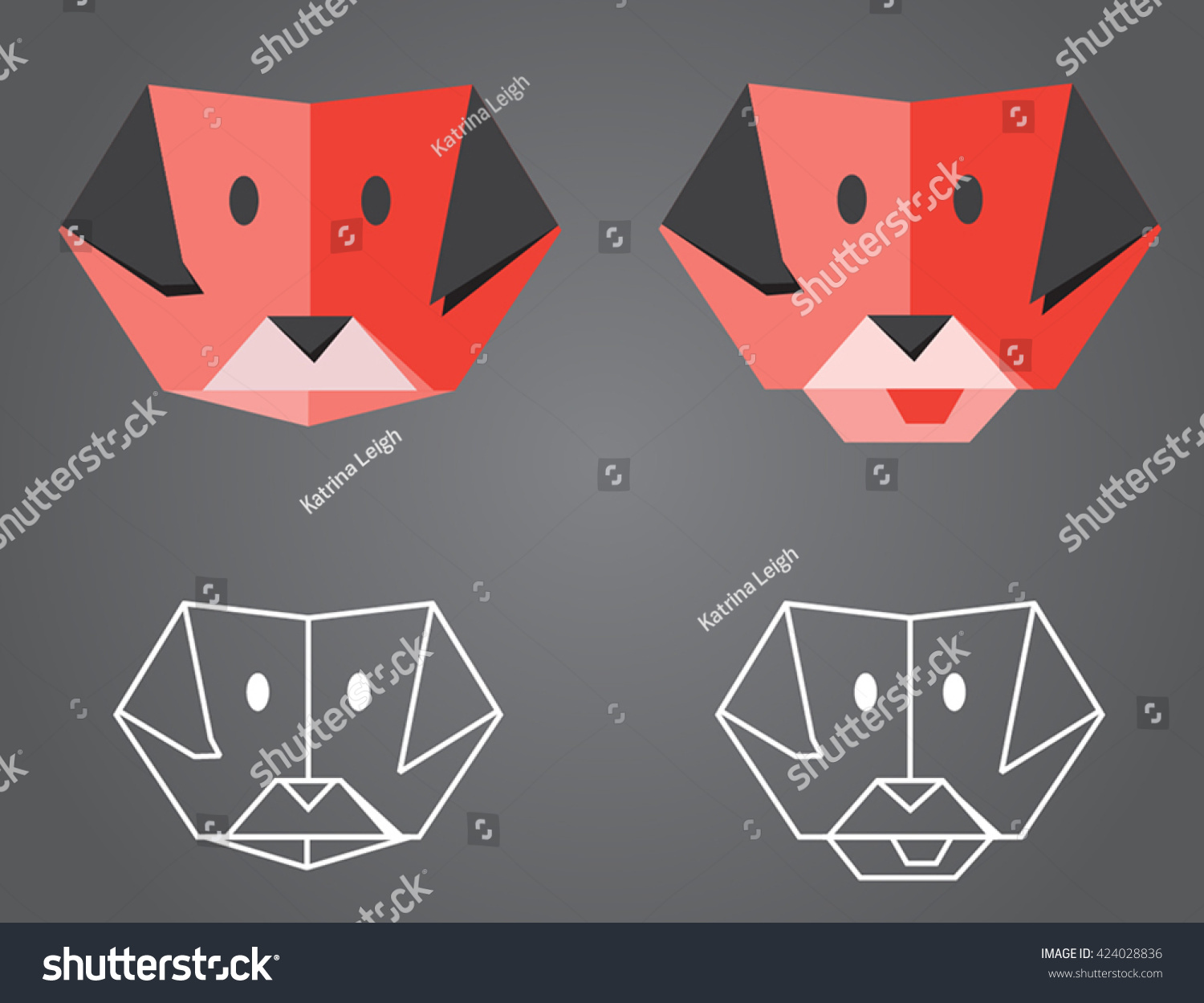 Origami dog face how to origami - Origami Dog Illustration Of Folded Origami Dog Faces Plus Low Poly Outline Versions