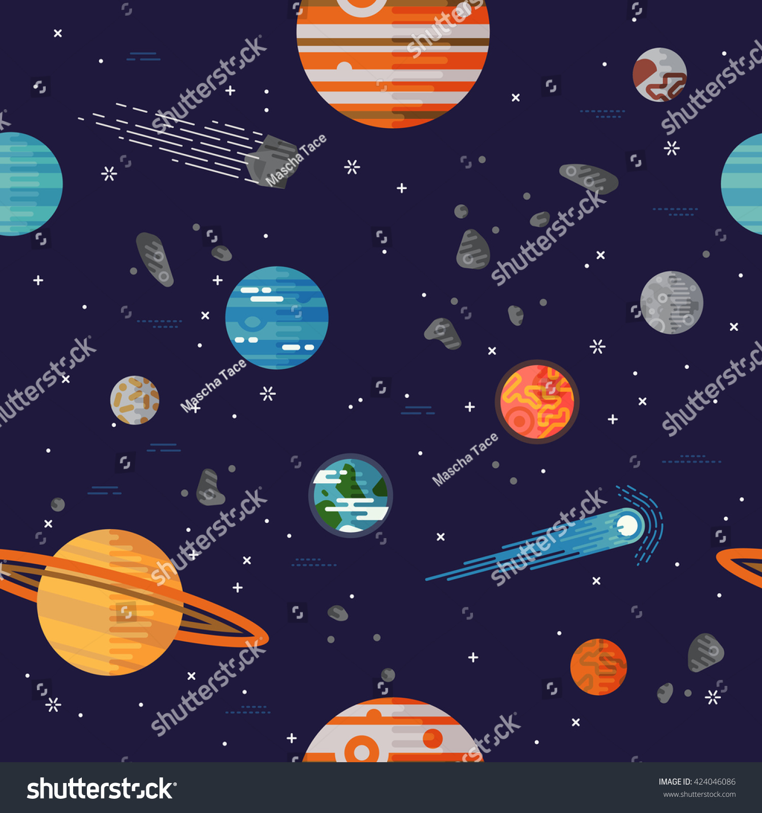 Cool Galaxy Planets And Stars Space Vector Flat Seamless Pattern With Earth Moon Venus