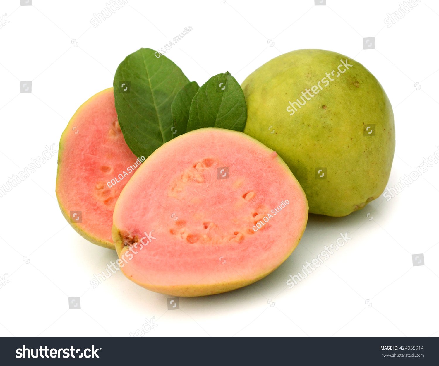 Guava Ripe Fruit Yellow Sweet With Small Hard Seeds Inside