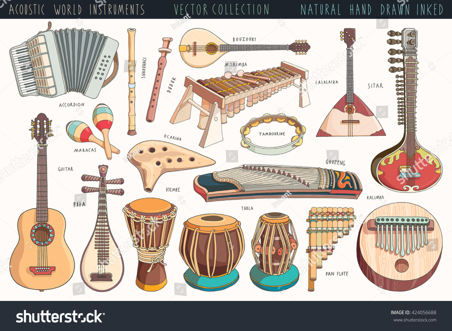 Hand Drawn Musical Instruments Pack Different Stock Vector ...