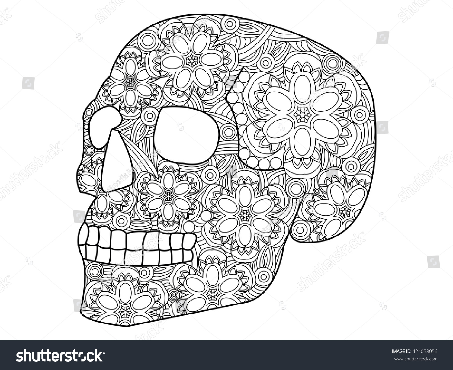 skull coloring book for adults vector illustration anti stress coloring for adult zentangle - Skull Coloring Book