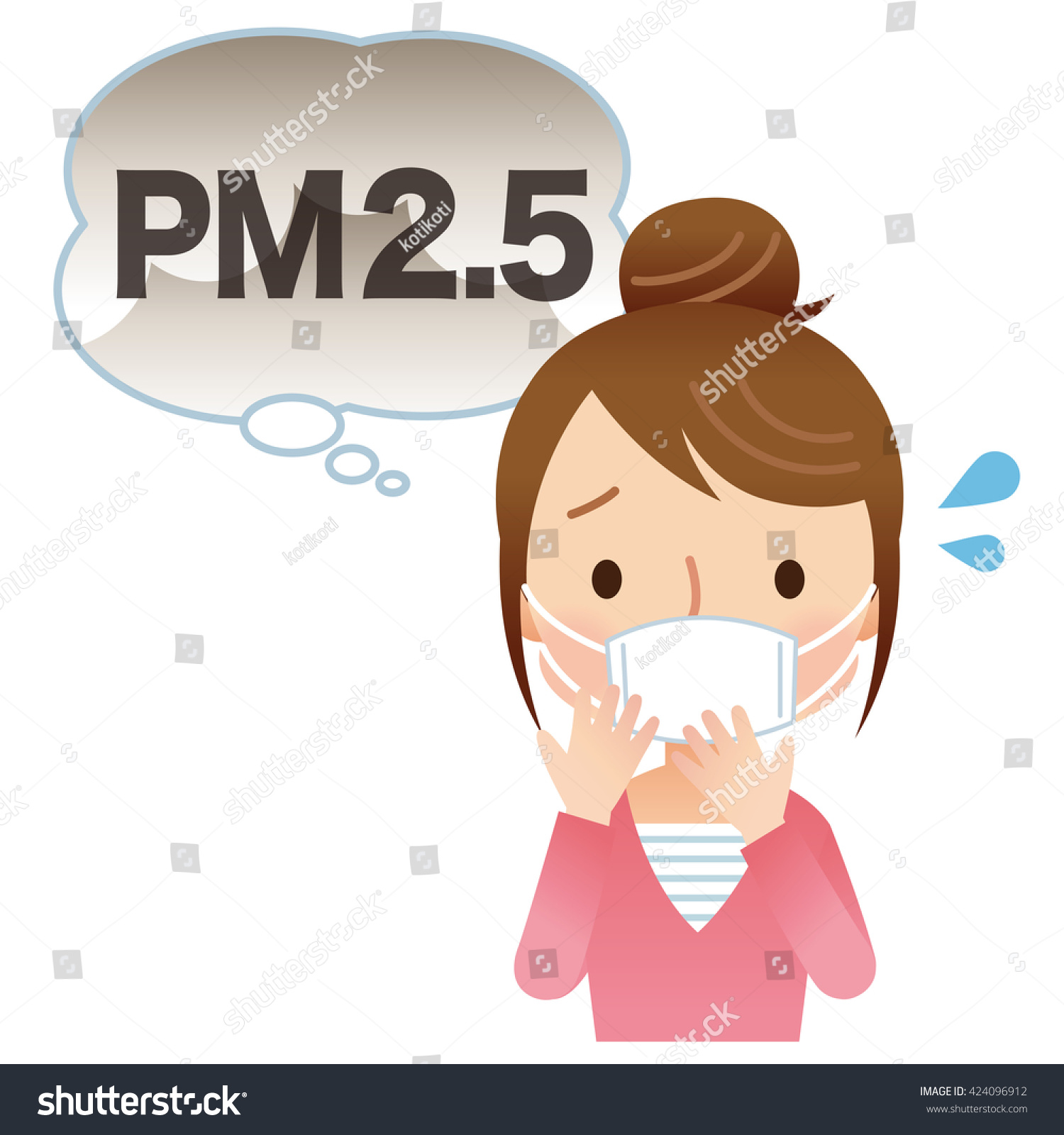 Stock Woman 424096912 Wear Illustration Mask Filtering Air Pollution
