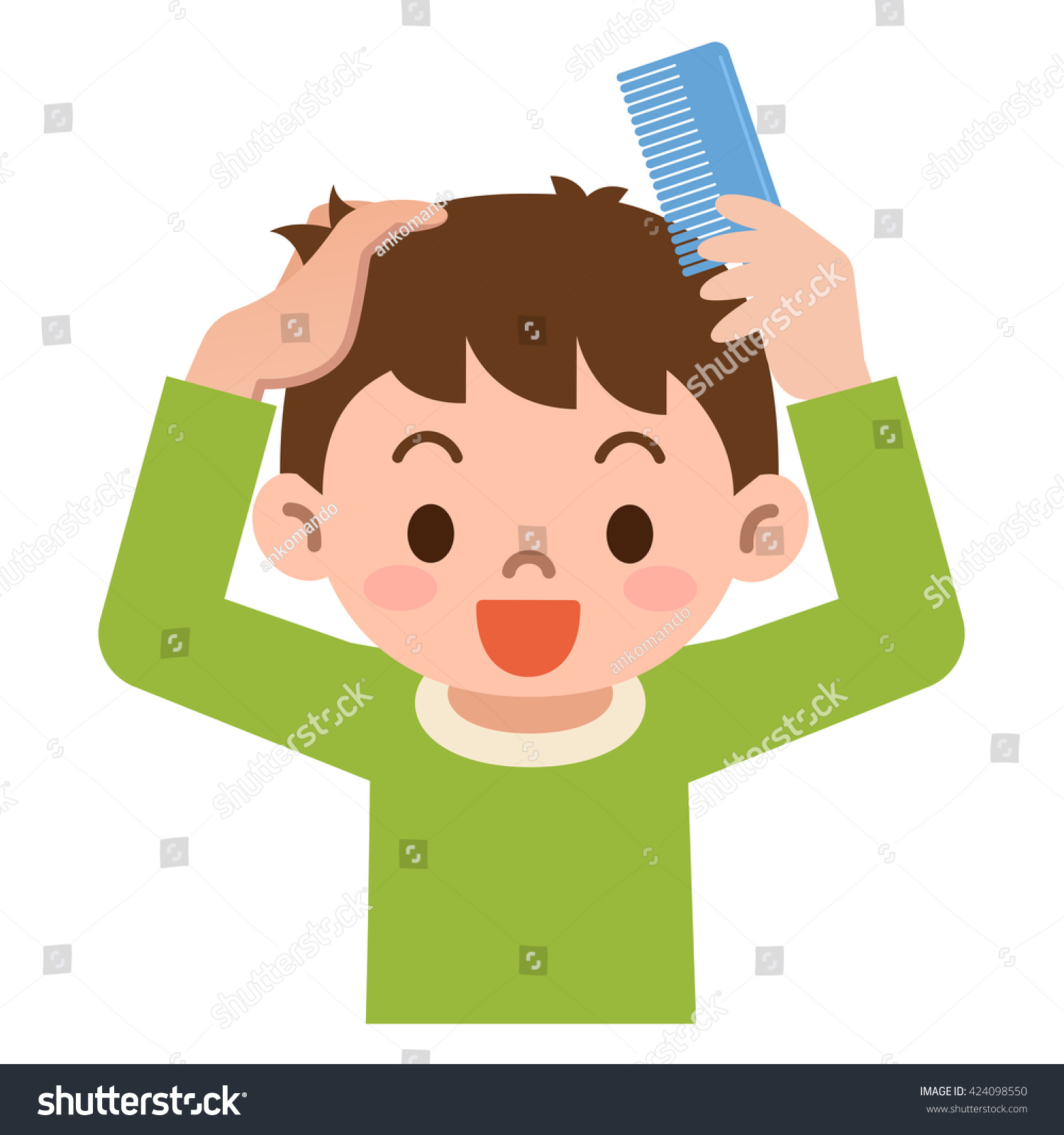 Boy Comb Hair Comb Stock Vector 424098550 Shutterstock