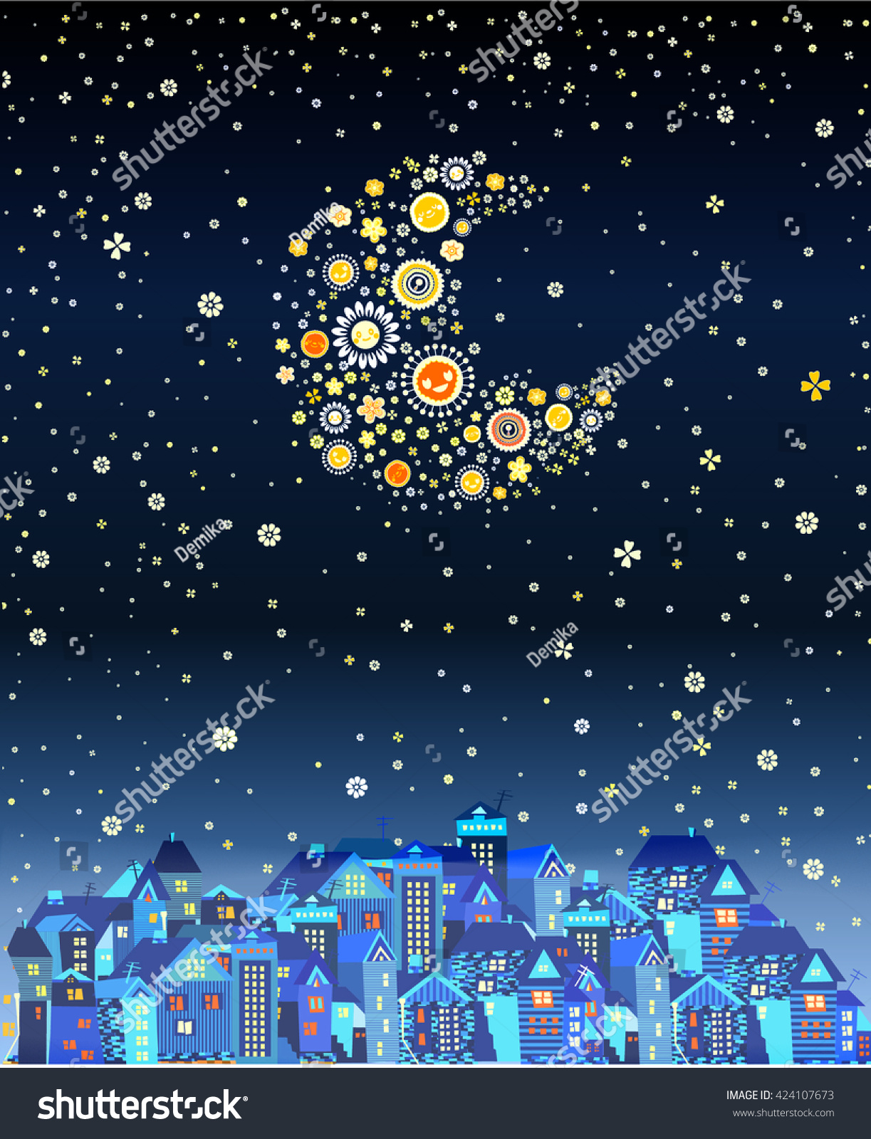 Beautiful night city stars moon made stock vector 424107673 beautiful night city with the stars and the moon made of flowers the moon izmirmasajfo