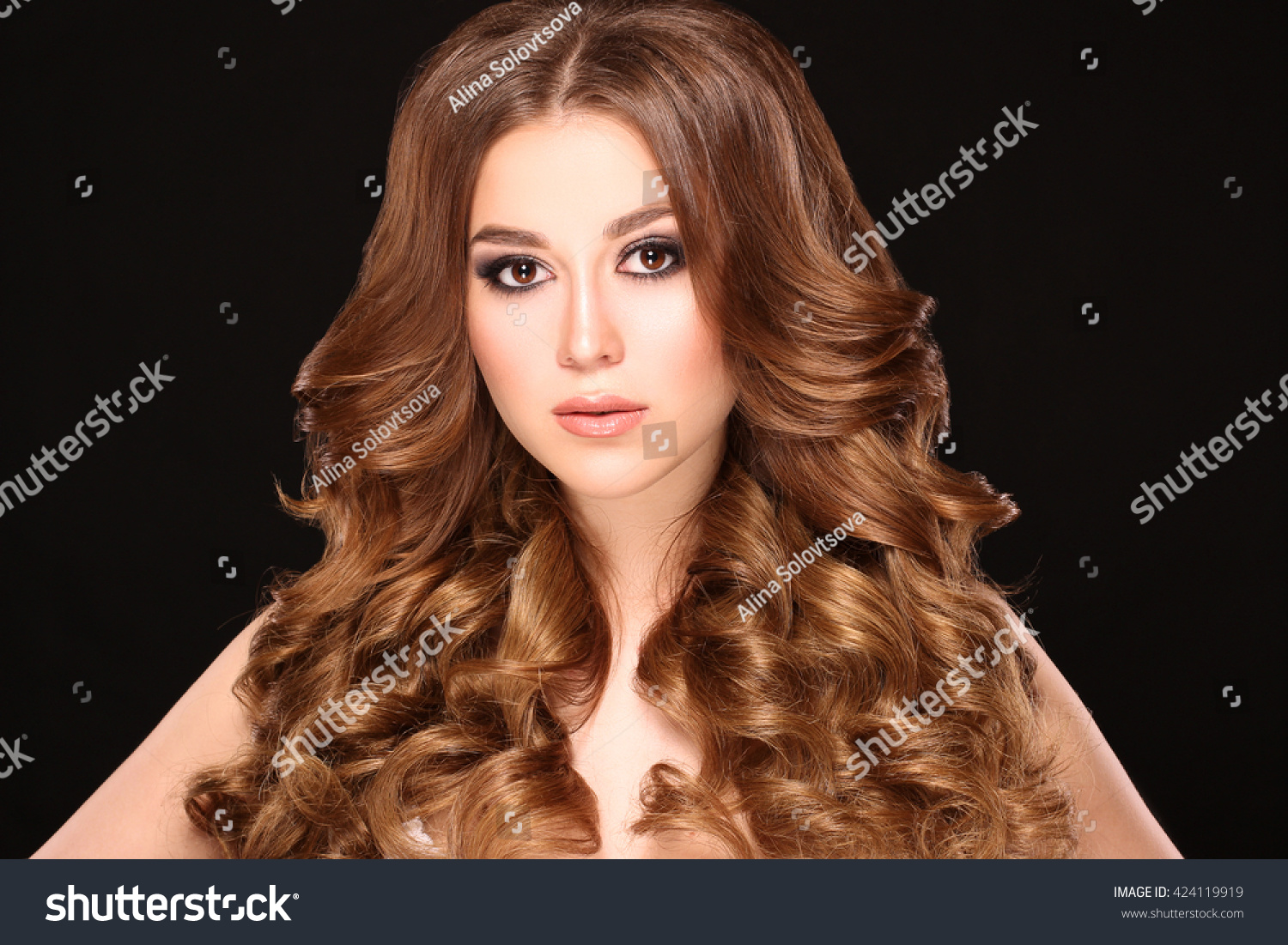 Beauty Woman Face Closeup Isolated On Black Background Stock Photo ...