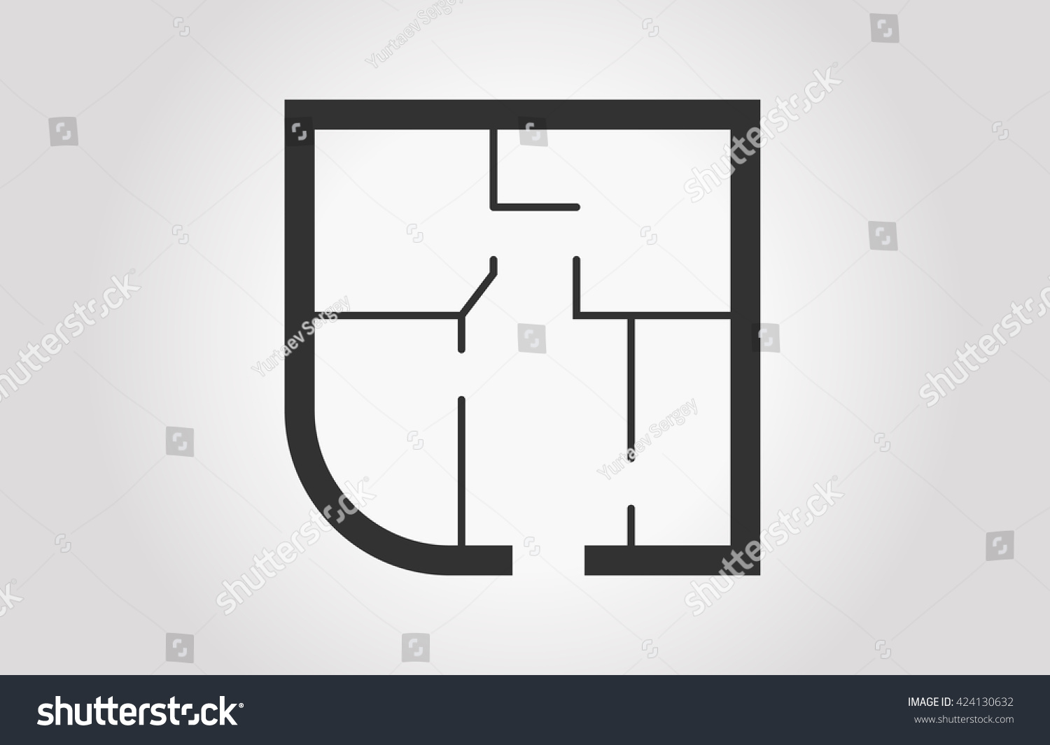 floorplan icon black white floor plan stock vector