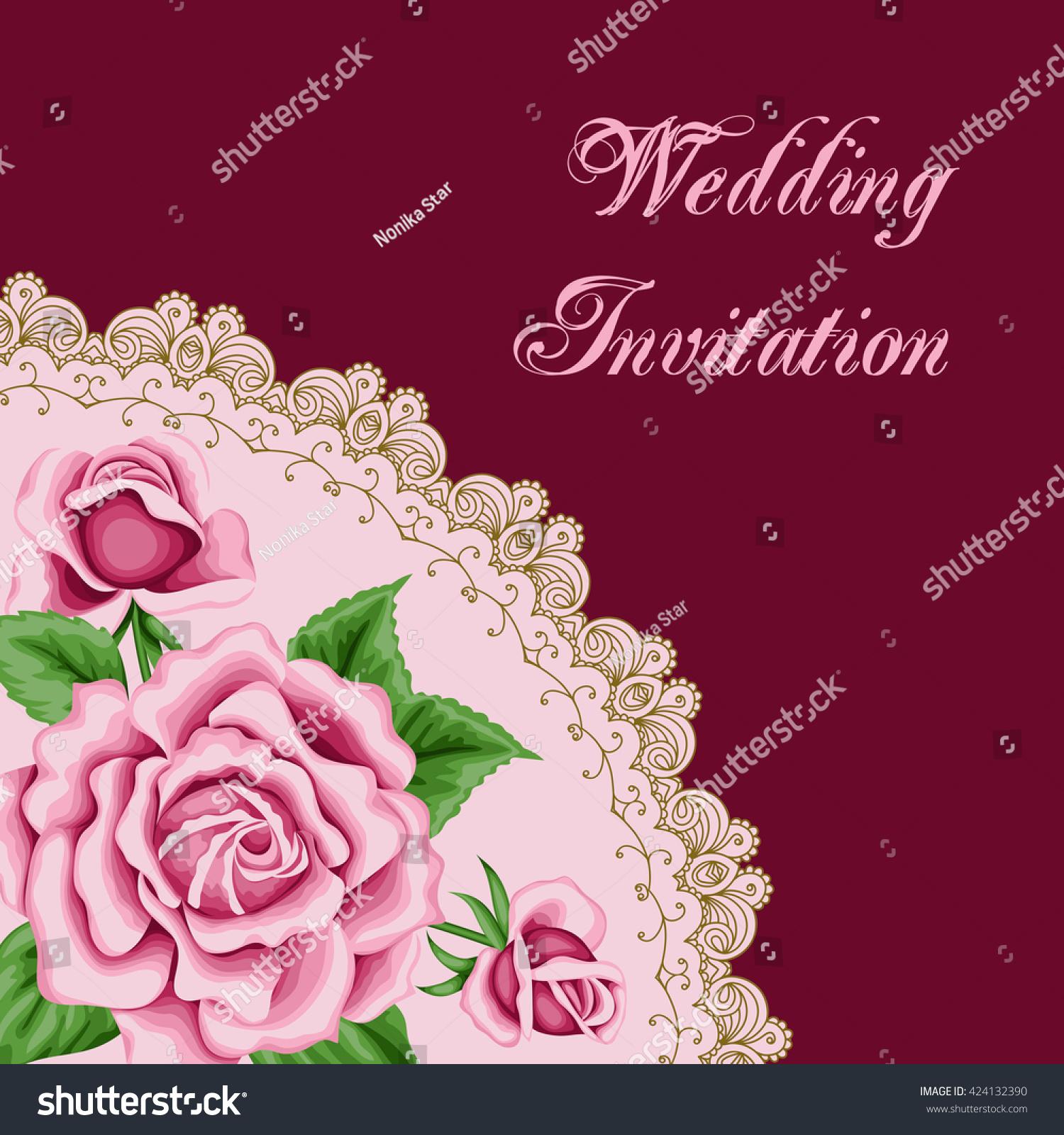 Vintage Wedding Invitation Pink Roses Lace Stock Illustration ...