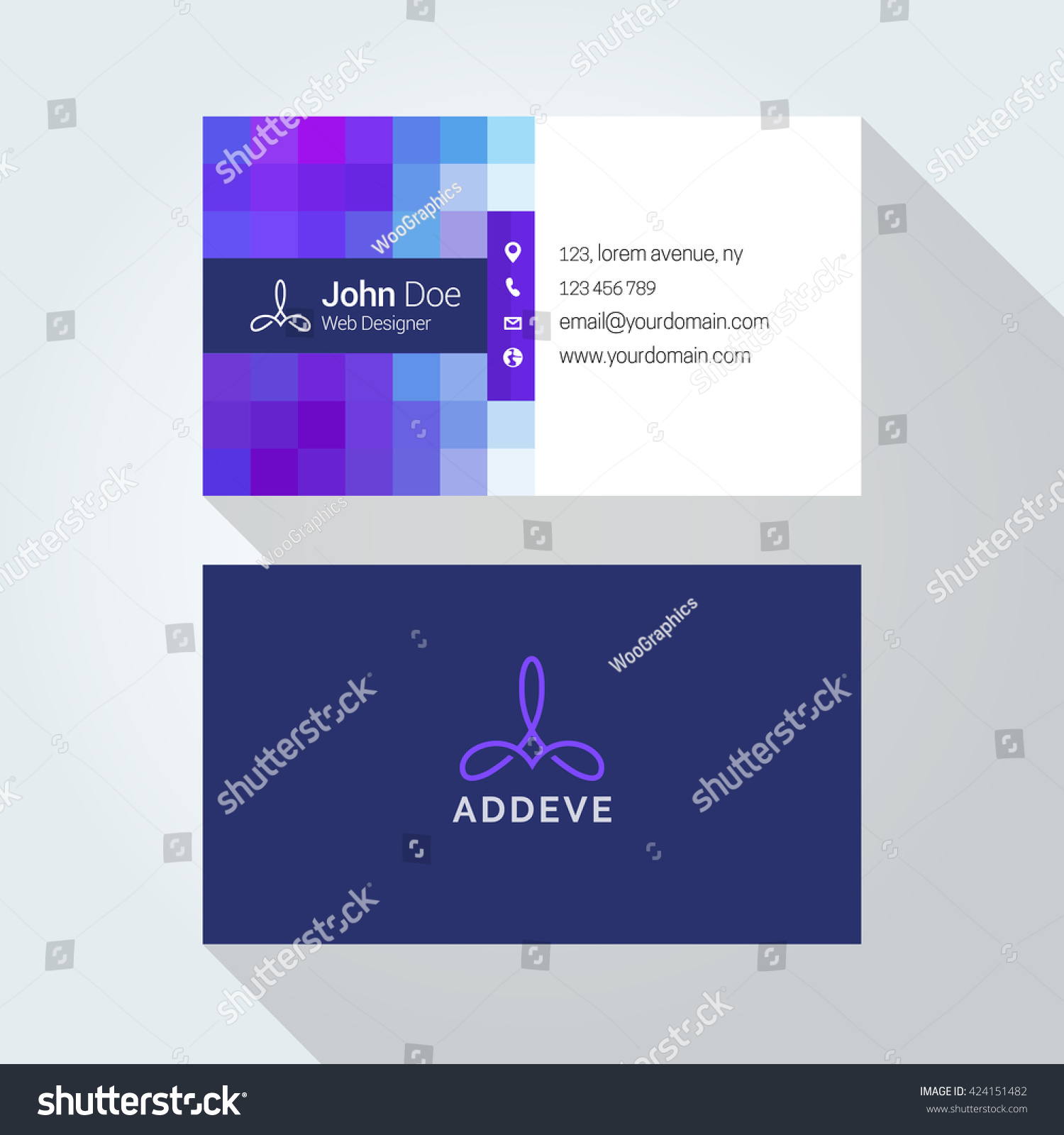Pixel Style Corporate Business Card Template Stock Vector 424151482 ...