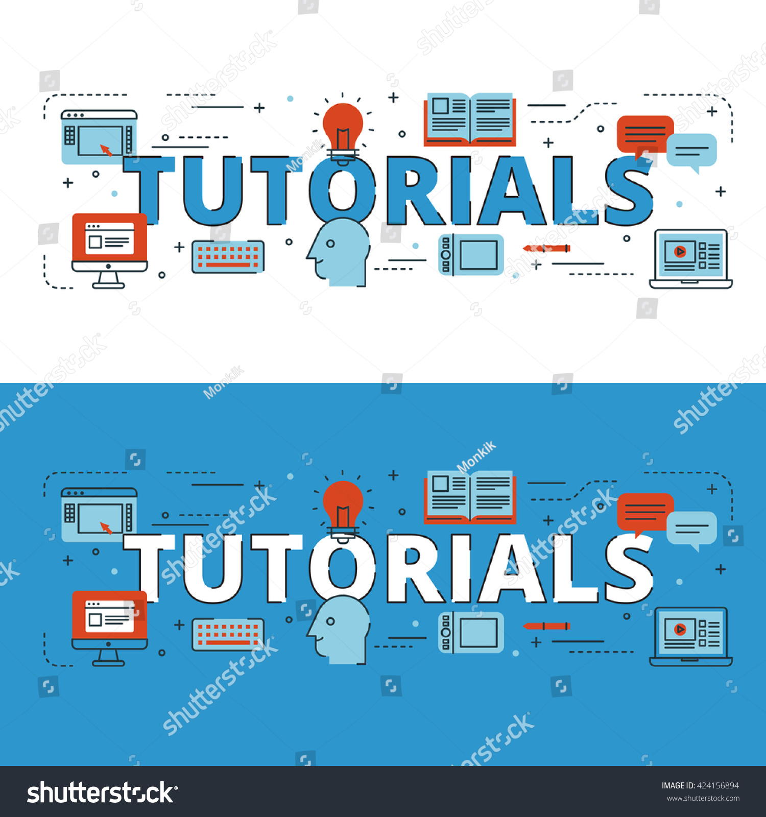 Book Cover Design Tutorial In Photo ~ Tutorials lettering flat line design icons stock vector royalty