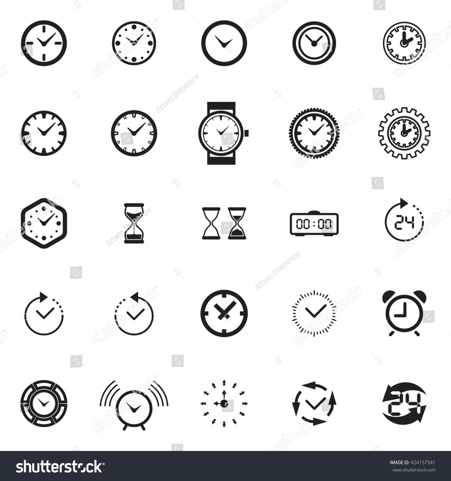 Modern Time Icon Collection Watch Icon Stock Vector Royalty Free