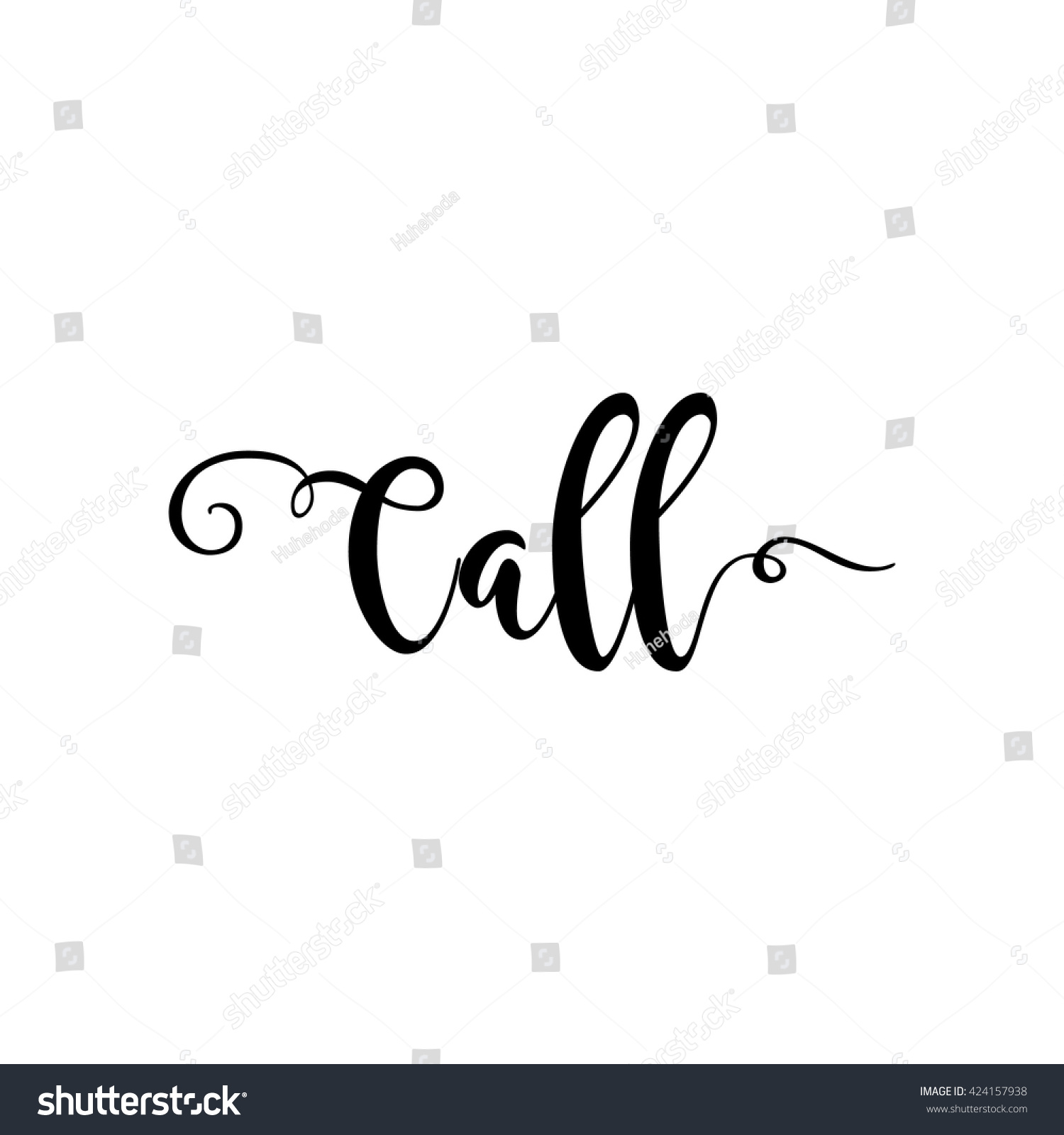 Call Verb English Beautiful Greeting Card With Calligraphy Black