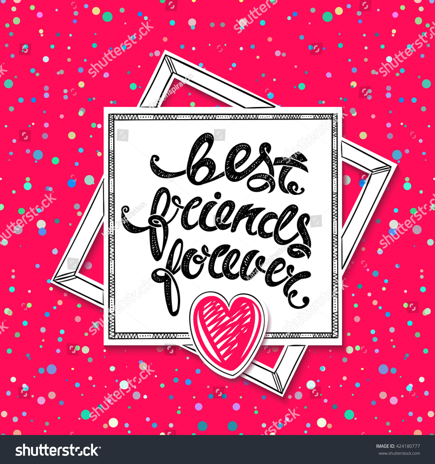 Best Friends Forever Vector Greeting Card Stock Vector
