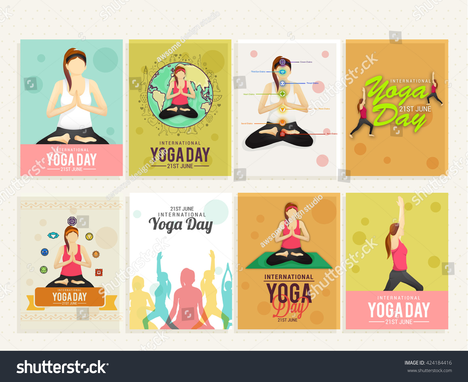 Poster design yoga - A Beautiful Card Or Poster Set Of International Yoga Day