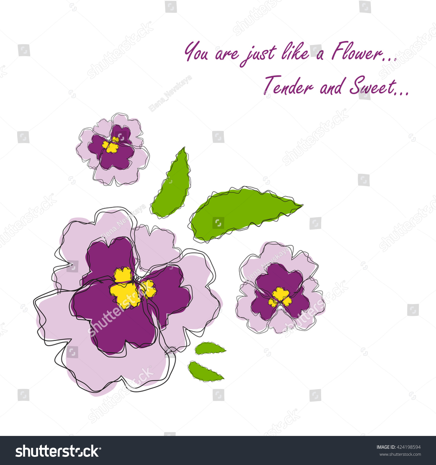 Vector Amazing Flower Design Beautiful Greeting Stock Vector