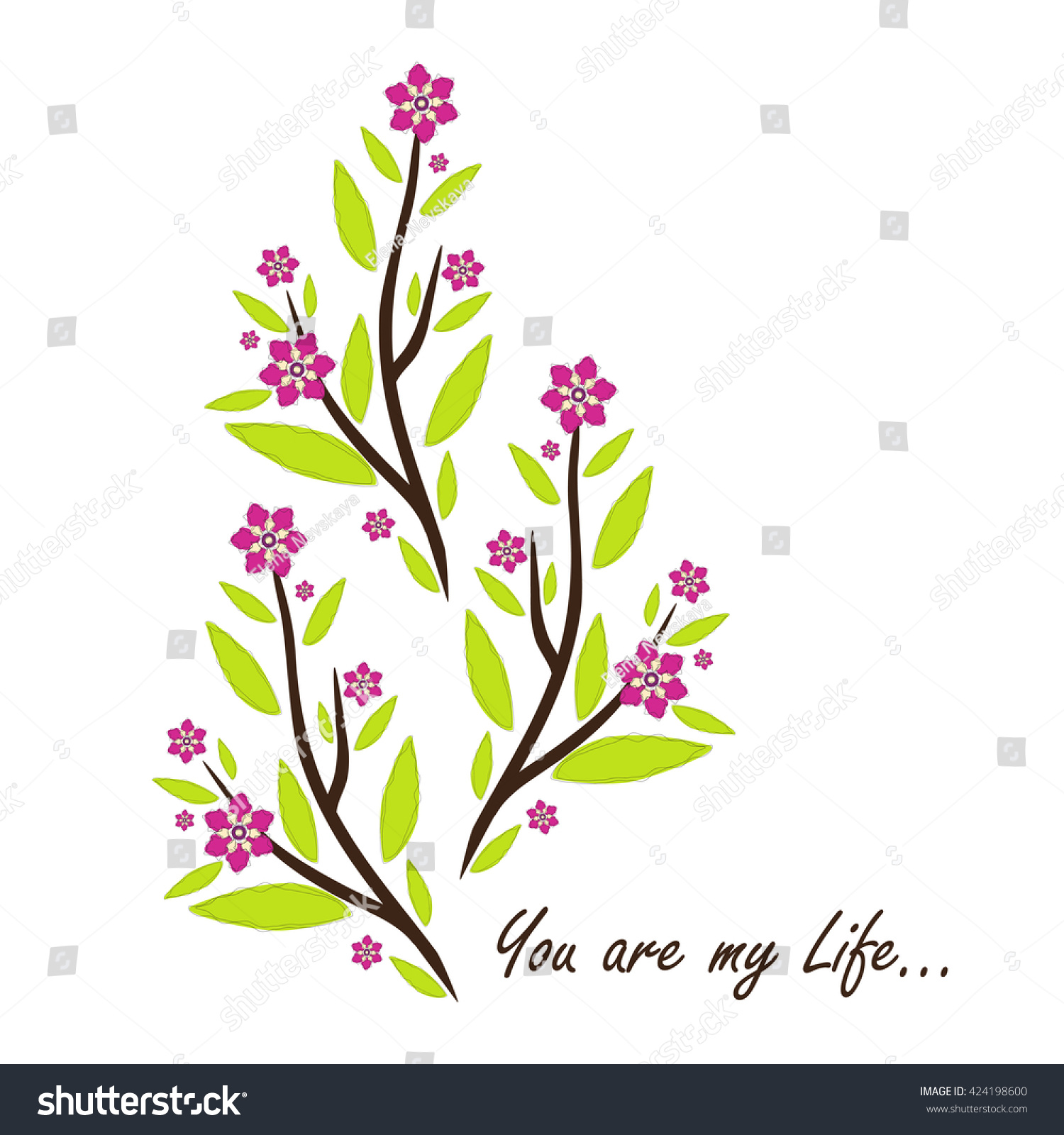 Vector amazing flower design beautiful greeting stock vector vector amazing flower design beautiful greeting card with romantic phrase flat minimalistic dhlflorist Choice Image