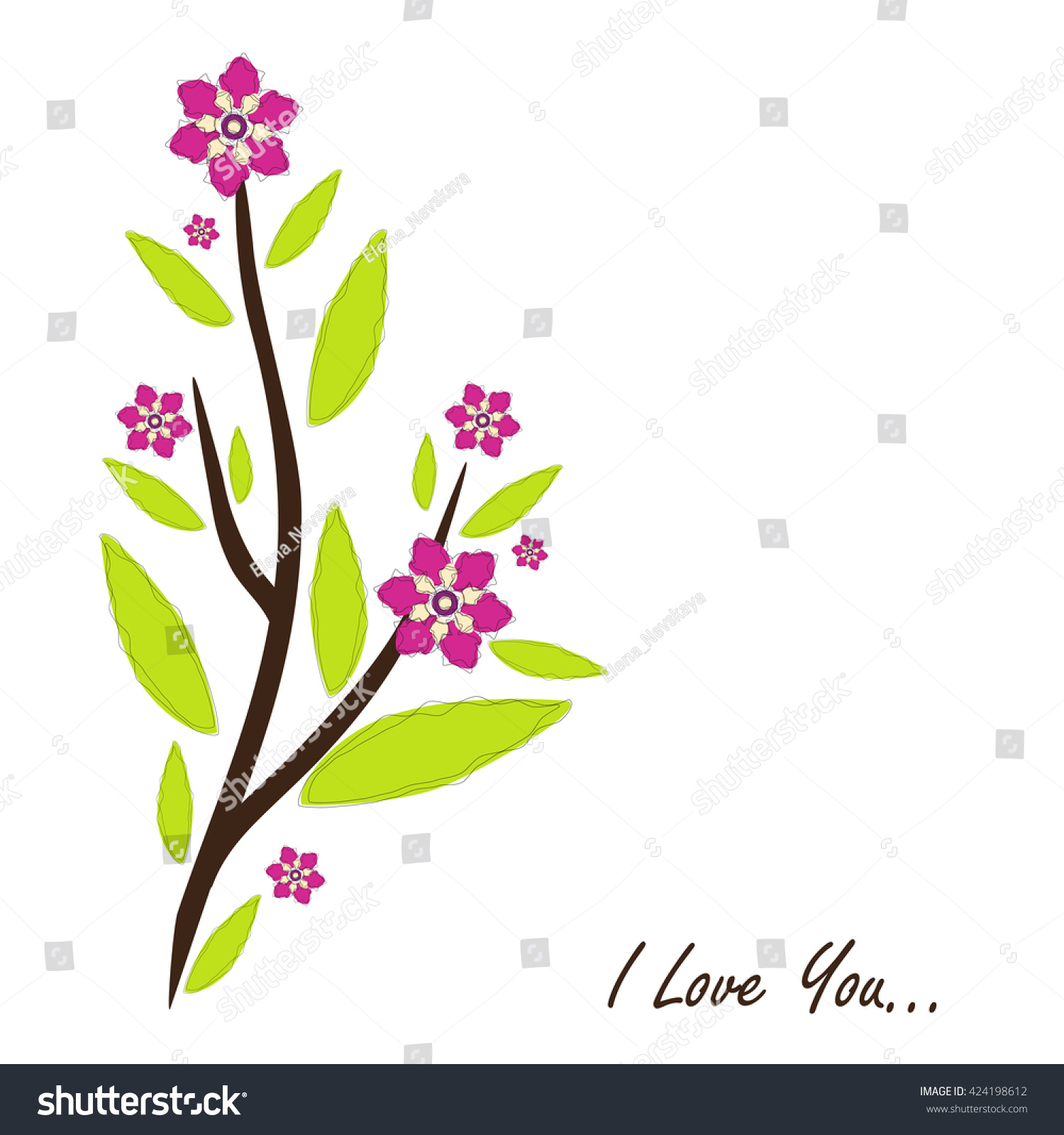 Vector Amazing Flower Design Beautiful Greeting Card With Romantic