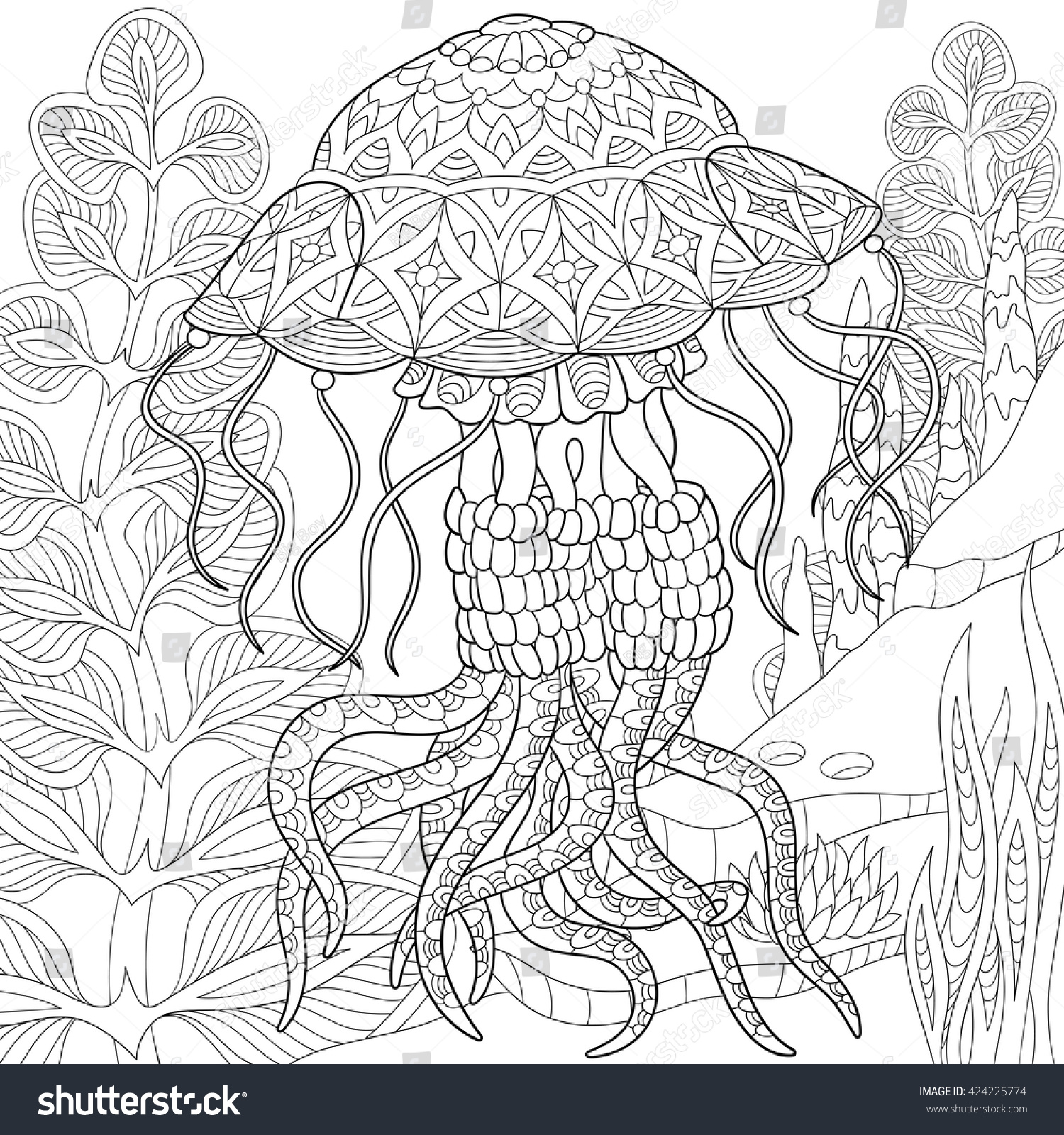 zentangle stylized cartoon jellyfish swimming among stock vector