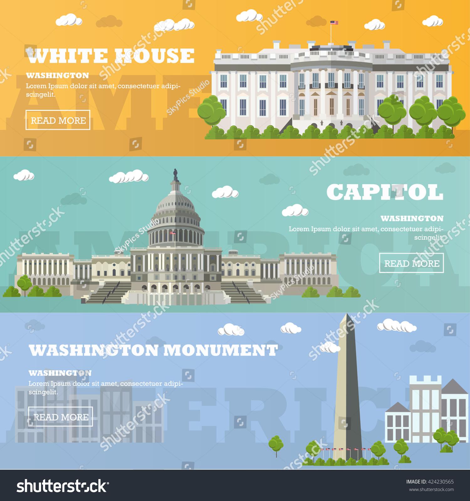 Washington Dc Tourist Landmark Banners Illustration Stock