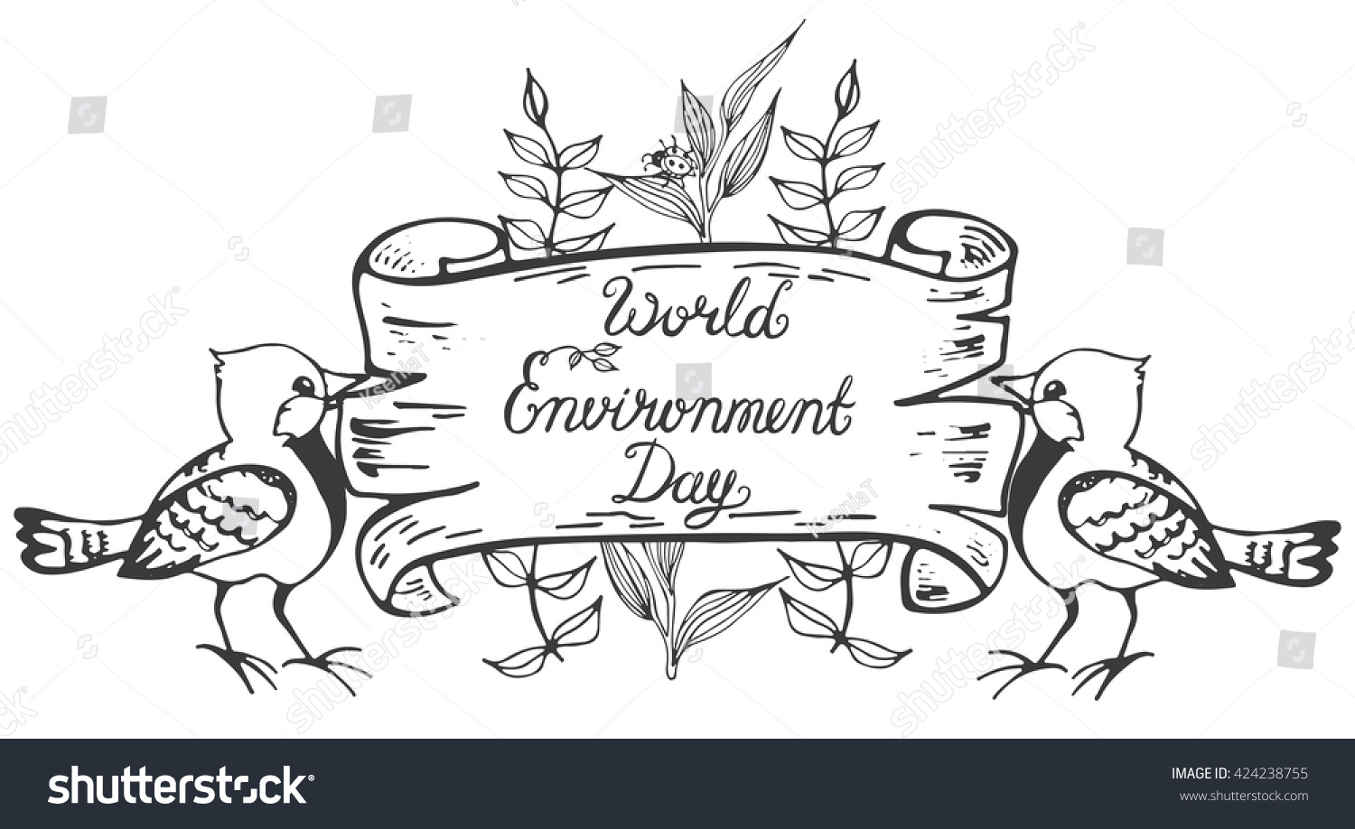 World environment day lettering poster save stock vektor