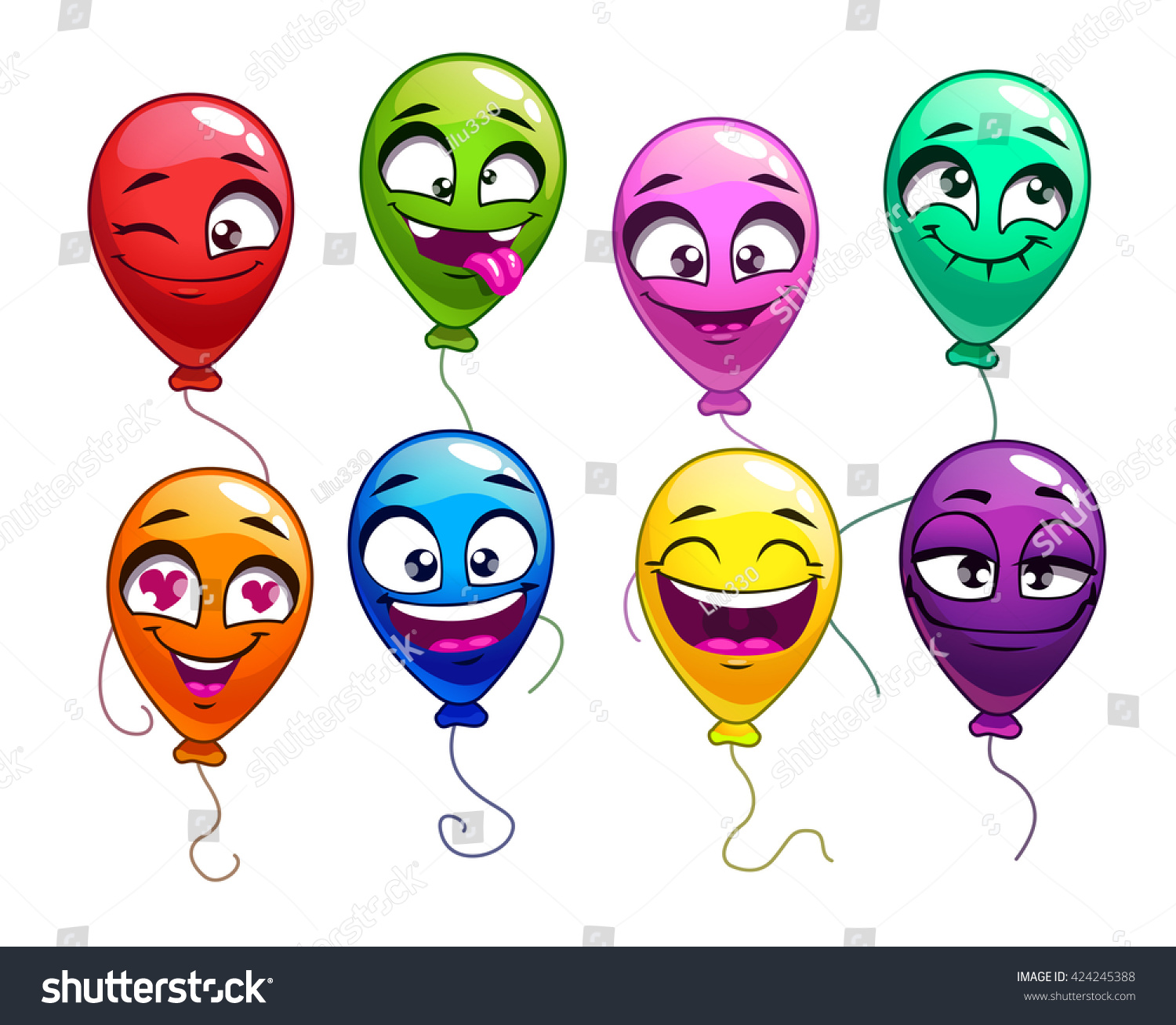 Funny balloon faces - Funny Cartoon Balloons With Comic Faces Cute Bright Balloon Characters Set Vector Colorful Balloons