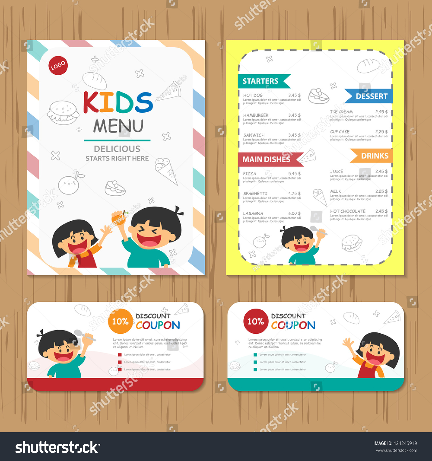cute colorful kids meal menu vector stock vector  cute colorful kids meal menu vector template happy boy and girl food and drink