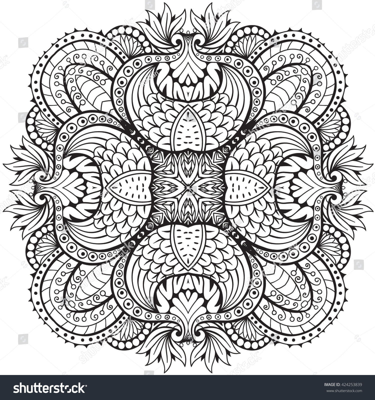 Abstract Round Linen Vector Pattern For Design Coloring Book Tattoo Mehendi T