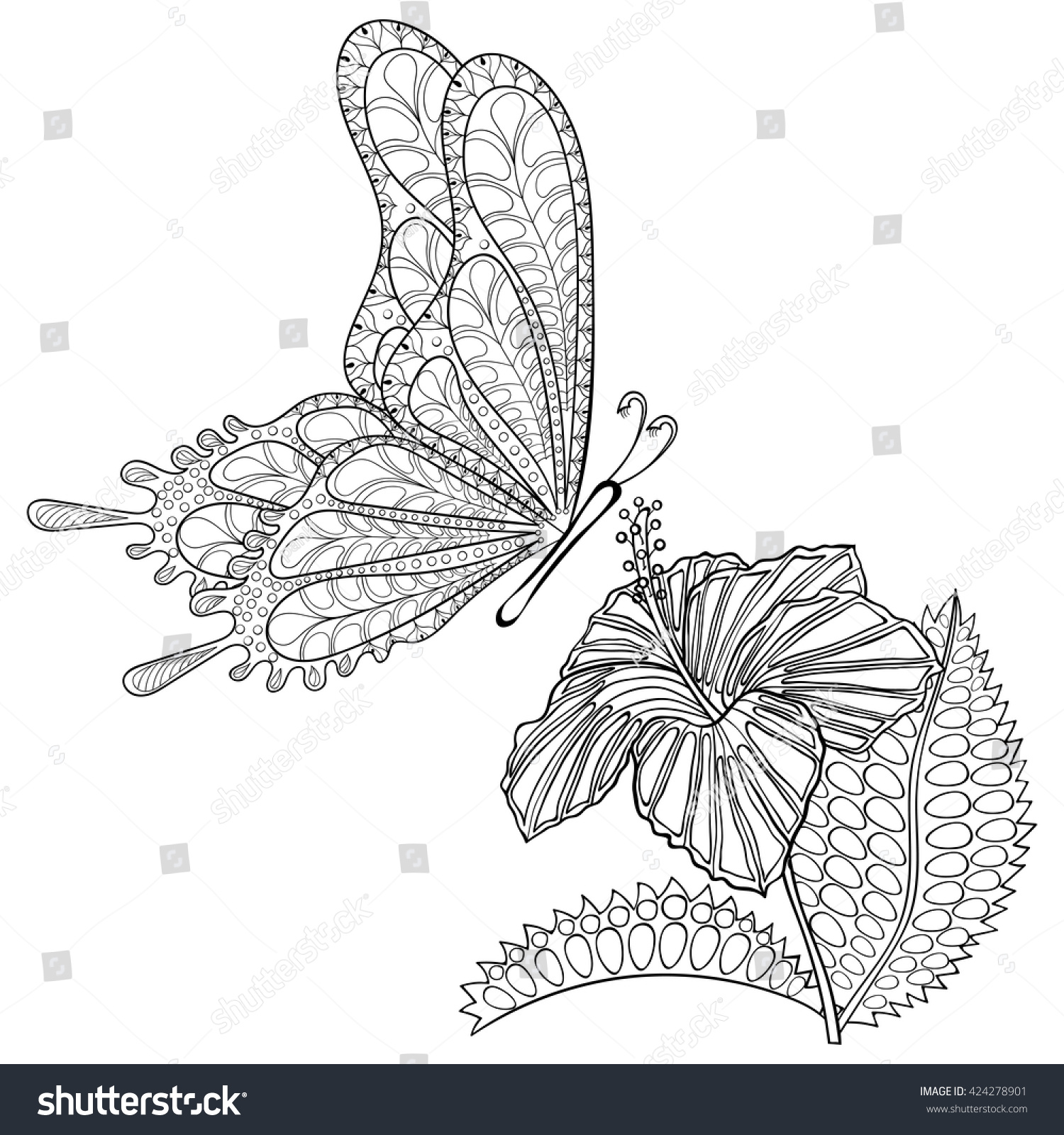 hand drawn zentangle tribal flying butterfly stock vector