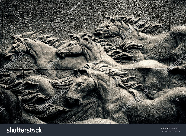 Sand Stone Sculpture Brick Wall Herd Foto de stock (libre de ...