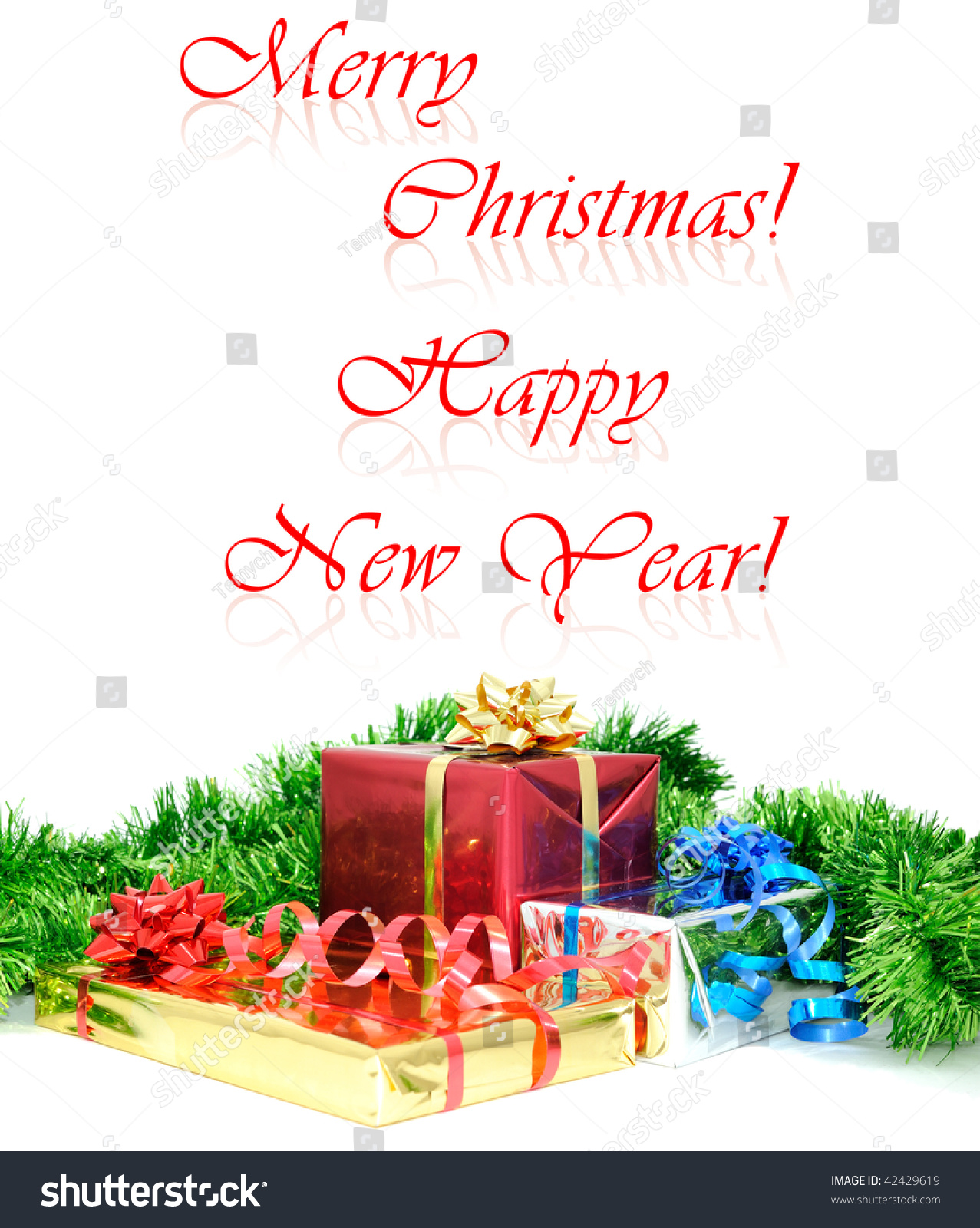 Merry Christmas Happy New Year Greeting Photo 42429619 – New Year Greeting Card Template