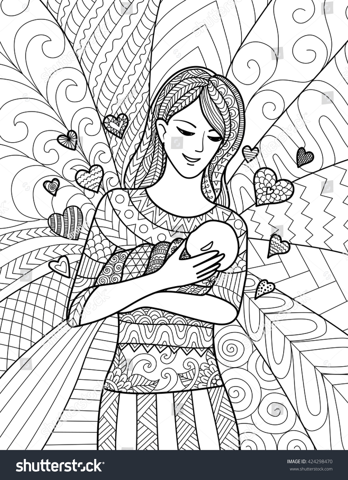 The coloring book clean - Mother Holding Her Baby Clean Line Doodle Art Design For Coloring Book For Adult