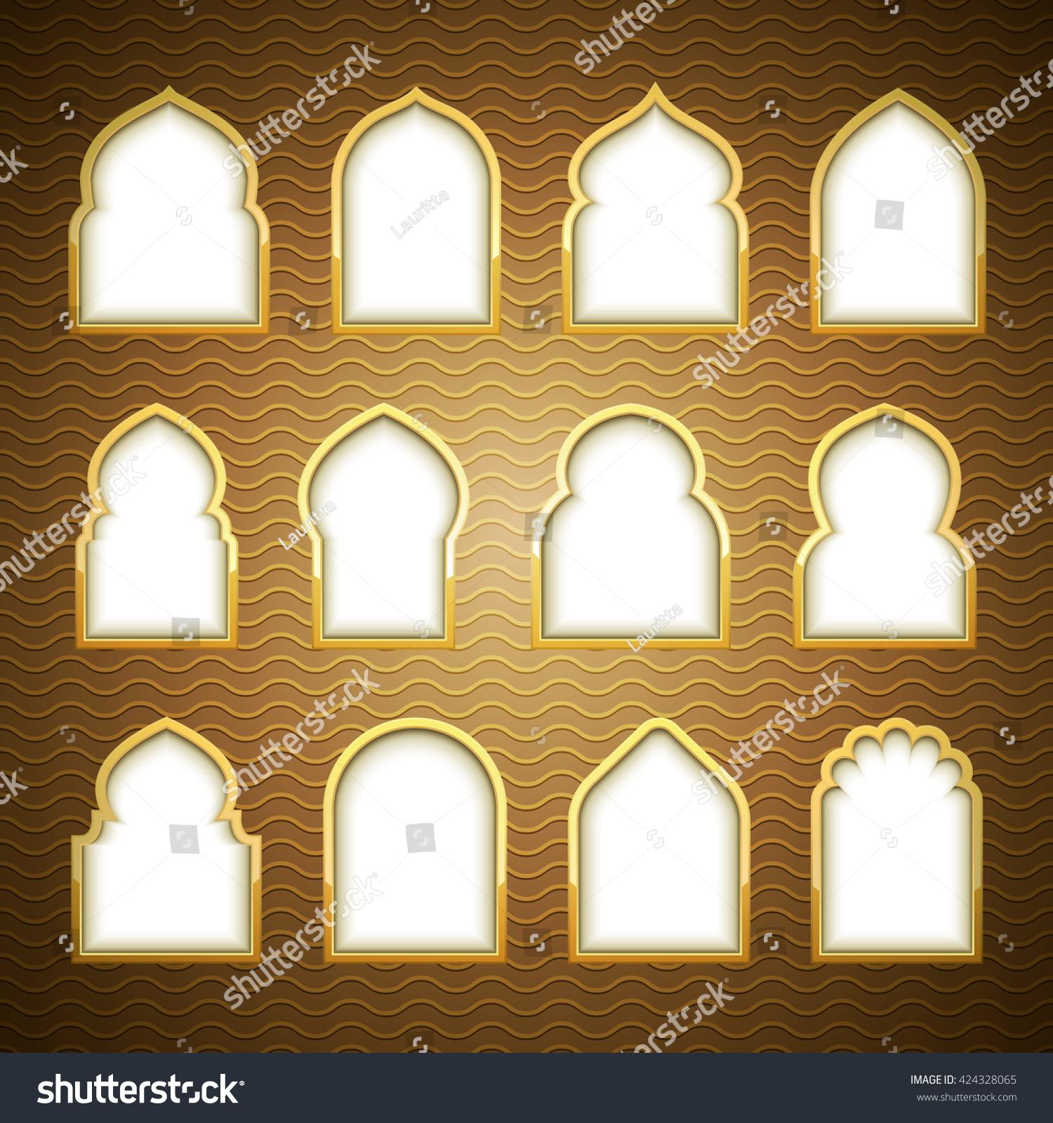 Gold design arab windows ramadan kareem stock vector for Window design vector