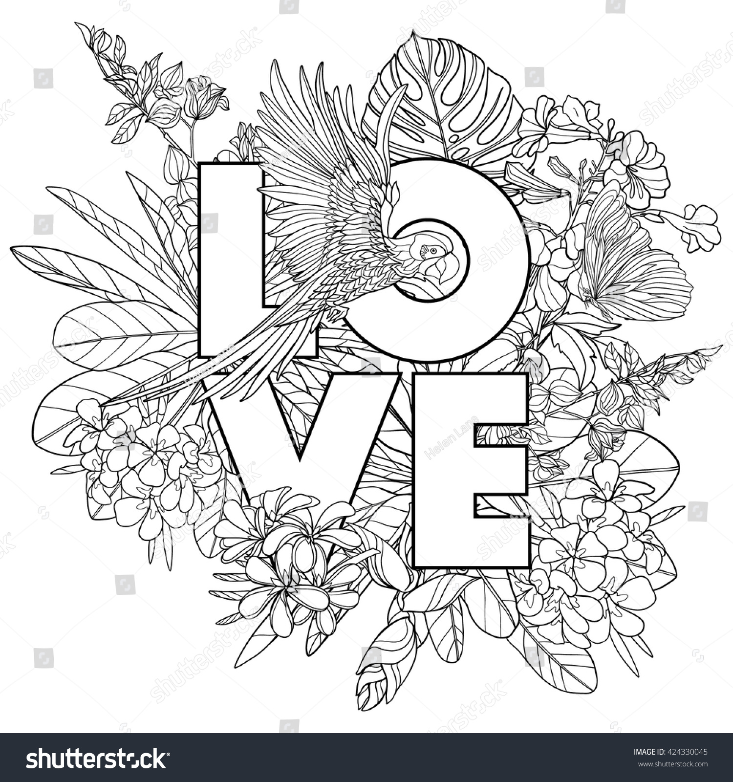 Adult Coloring Book Page With Word Love And Tropical Birds Plants