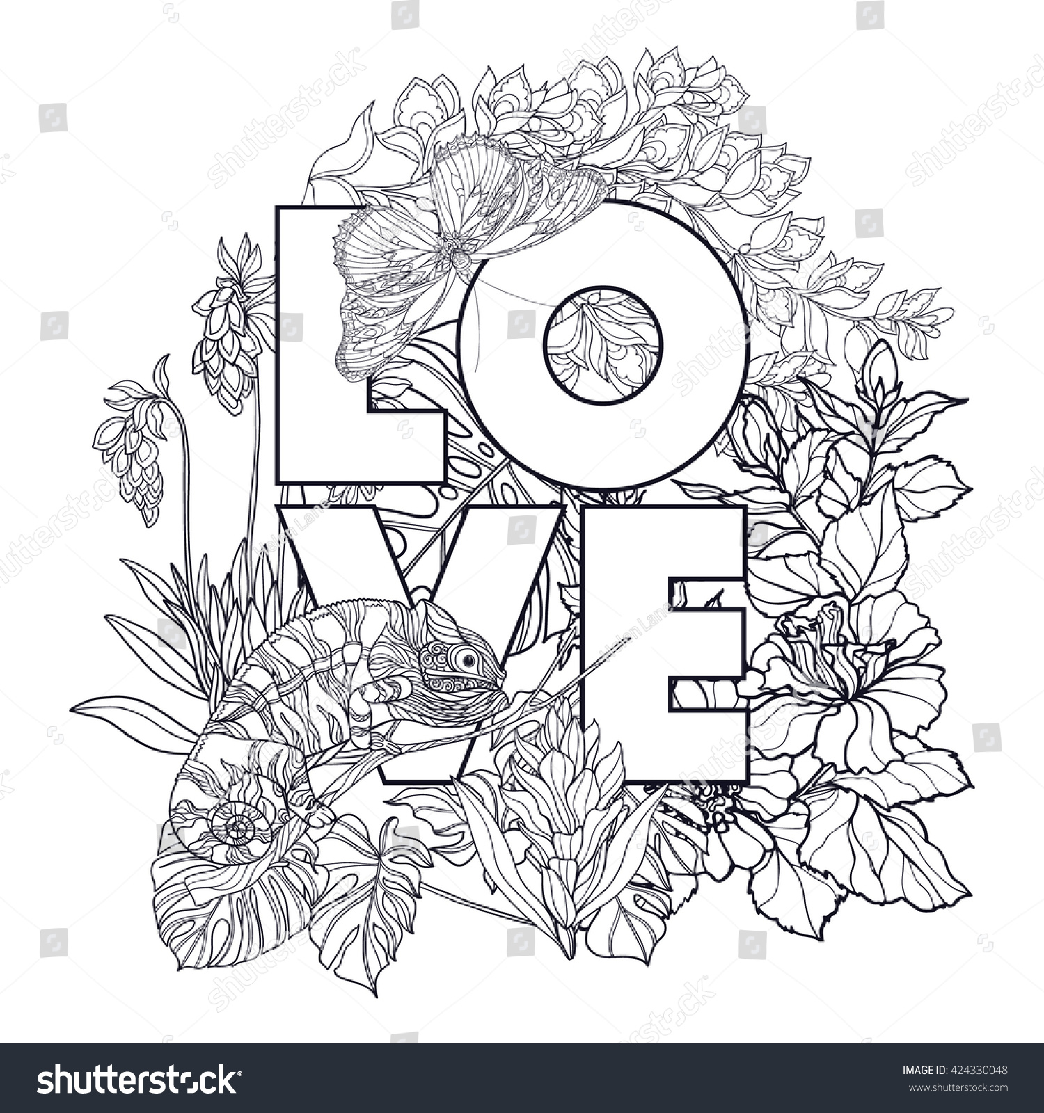 Adult Coloring Book Coloring Page Word Stock Vector (Royalty Free ...
