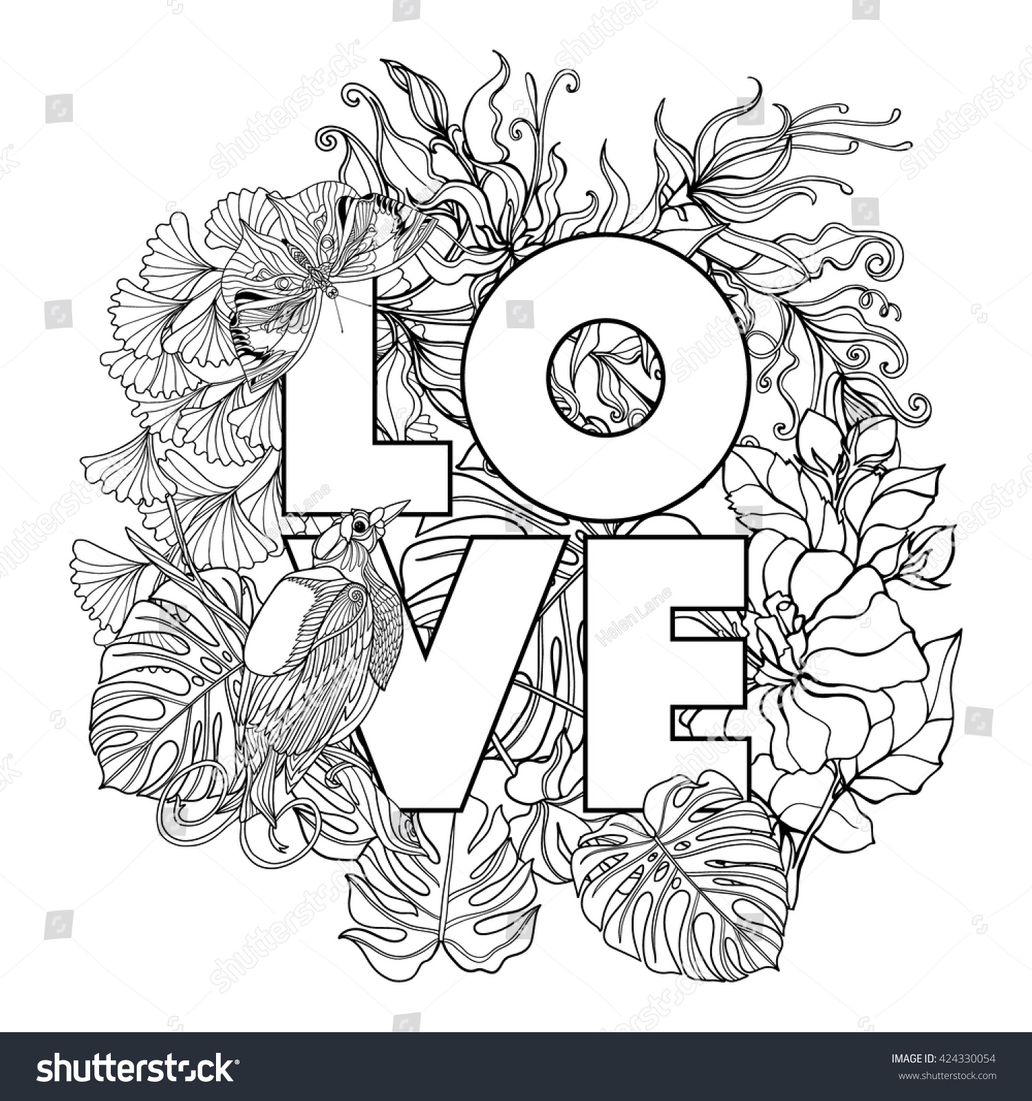 coloring book coloring page word stock vector 424330054