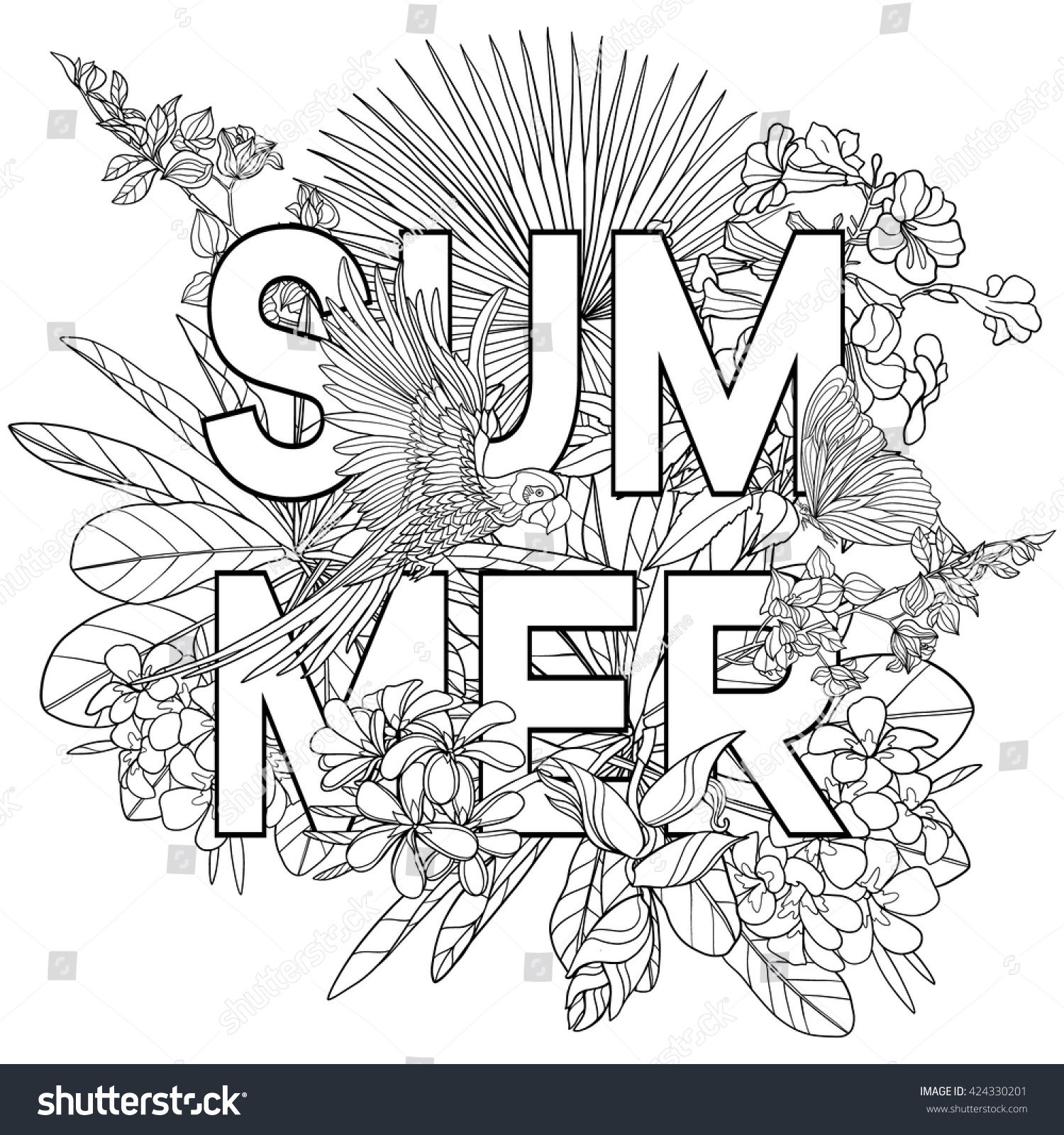 Adult Coloring Book Coloring Page With Word Summer And