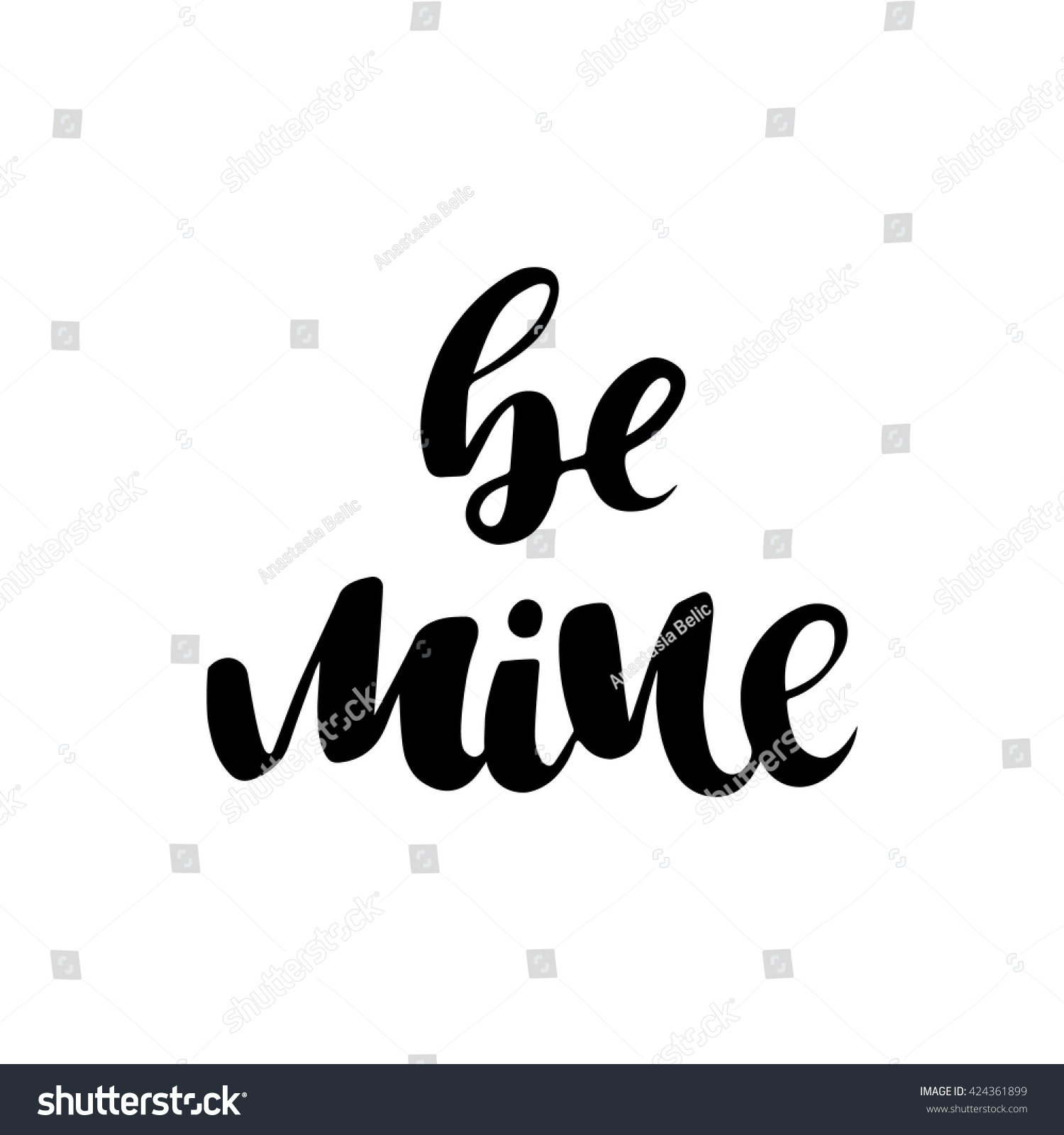 Be Mine Ink Calligraphy Easy Use Stock Vector 424361899