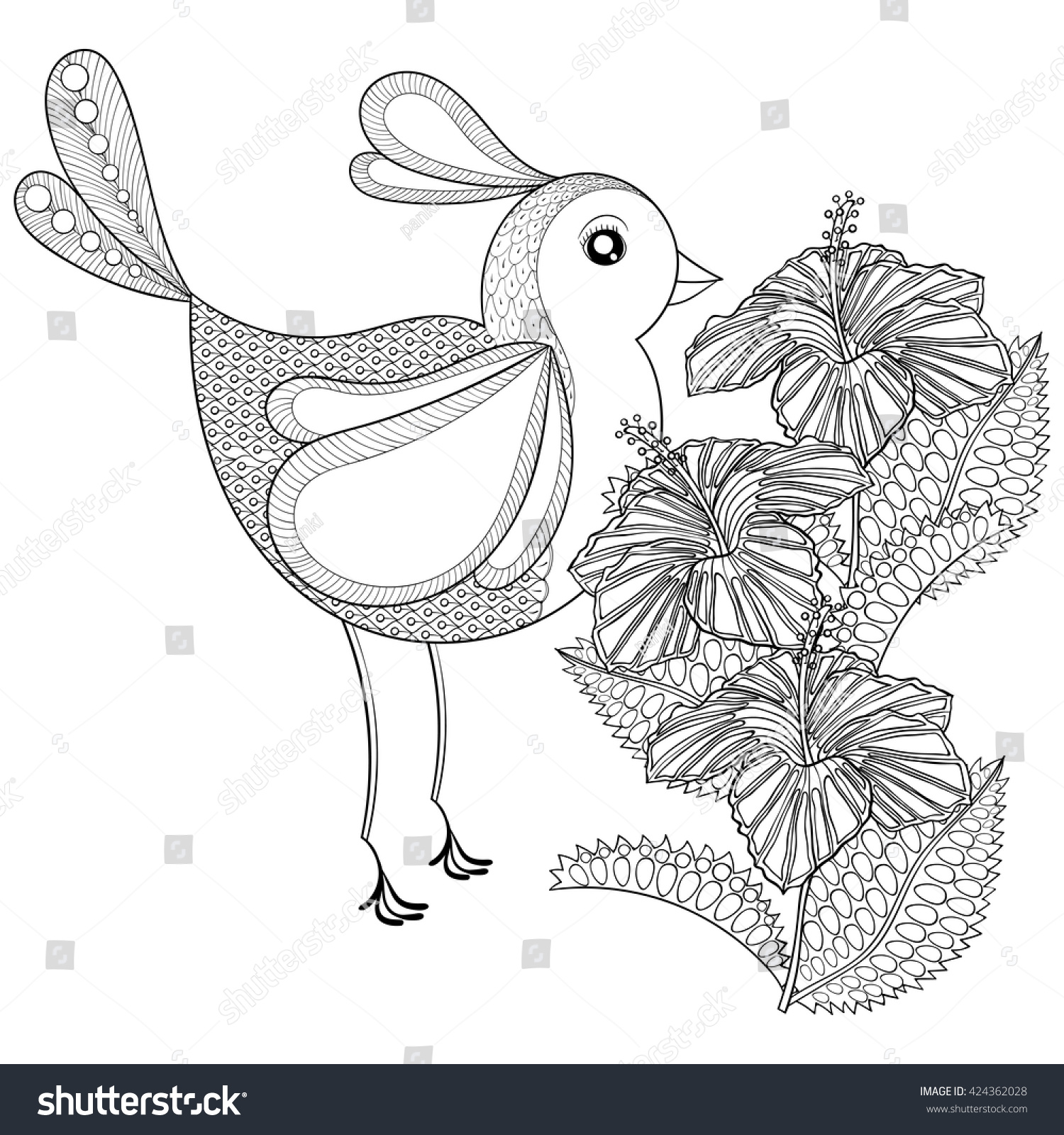 Hand drawn zentangle tribal exotic bird stock vector royalty free hand drawn zentangle tribal exotic bird and hibiscus flower for adult anti stress coloring pages izmirmasajfo