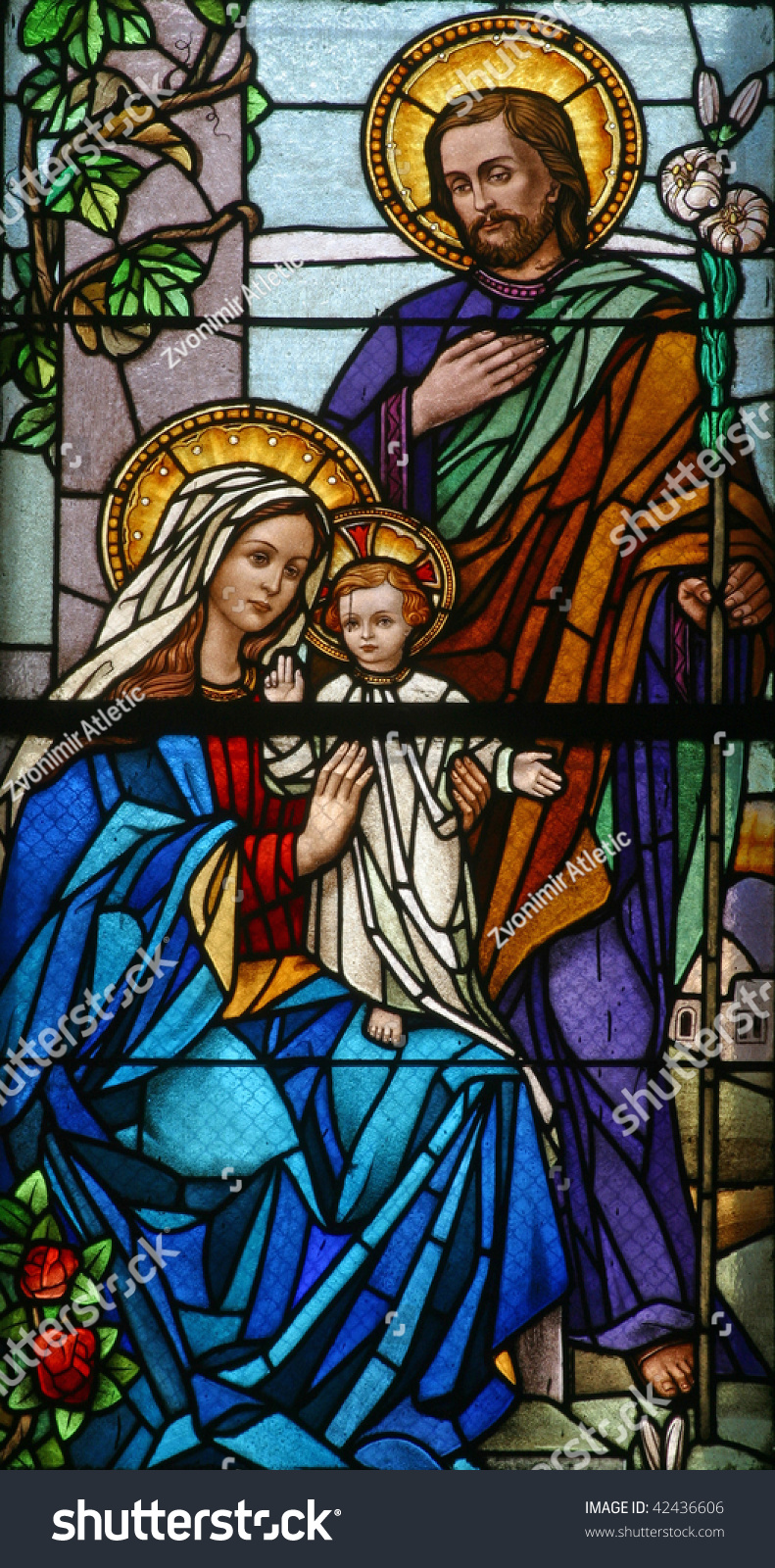Stained Glass Holy Family Stock Photo 42436606 Shutterstock