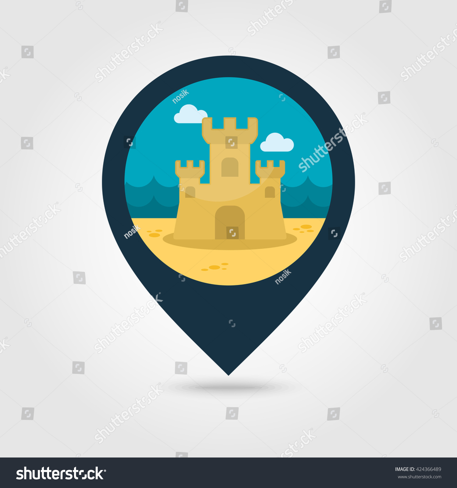 Sand castle vector pin map icon stock vector 424366489 shutterstock sand castle vector pin map icon beach map pointer summer map markers summertime biocorpaavc Image collections