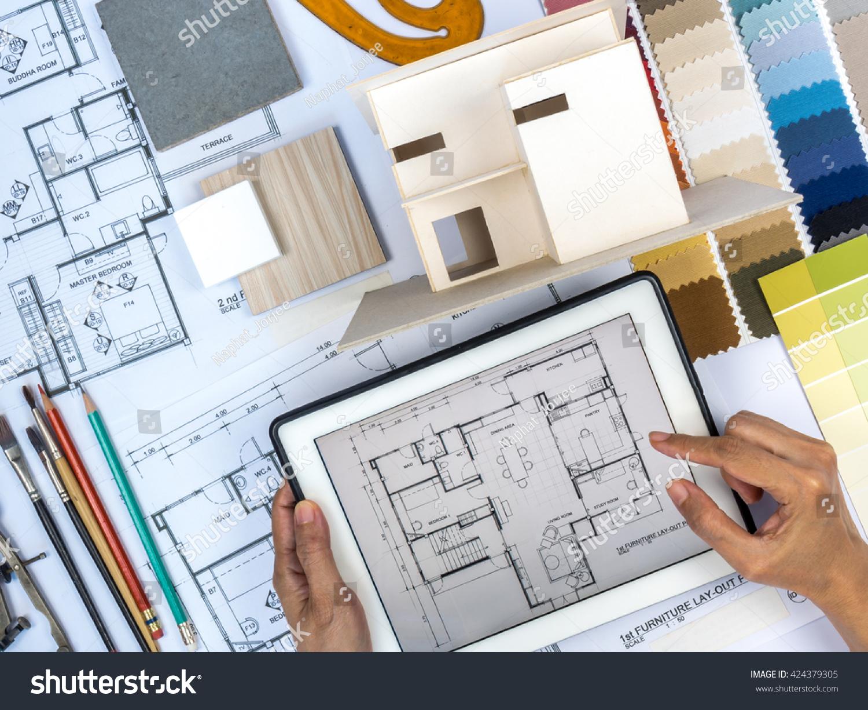 How Interior Designers Work Unique Top View Architect Interior Designer  Working Stock Photo 424379305 . Inspiration
