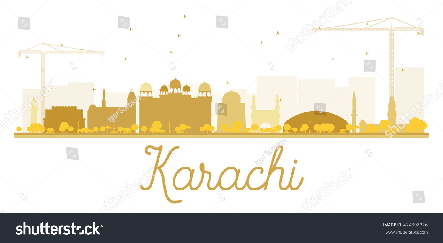 Outline athens skyline with blue buildings and copy space stock vector - Karachi City Skyline Golden Silhouette Vector Illustration
