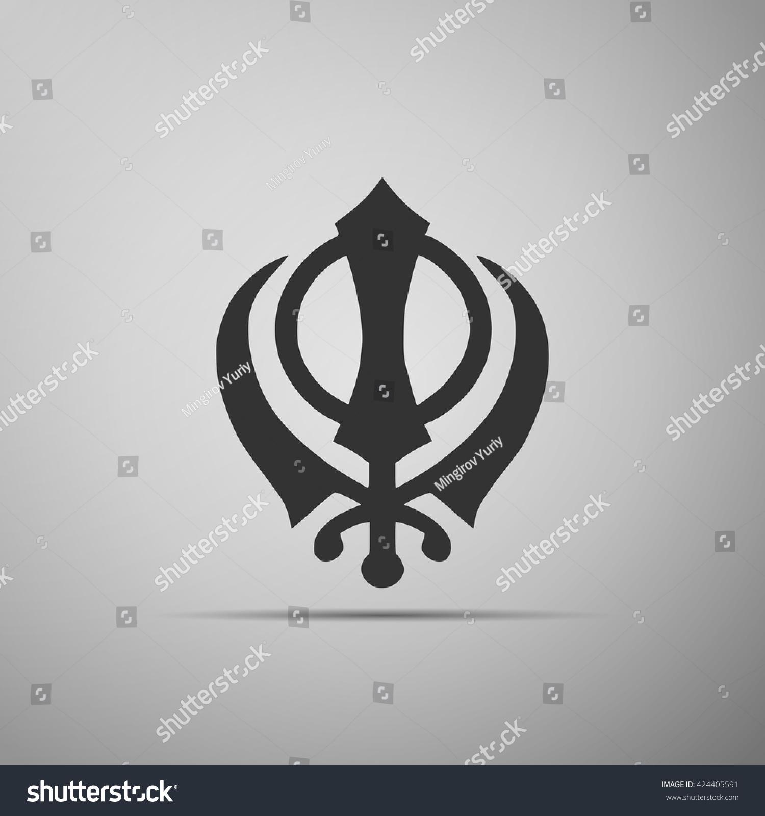 Khanda Sikh Icon On Grey Background Stock Vector 424405591