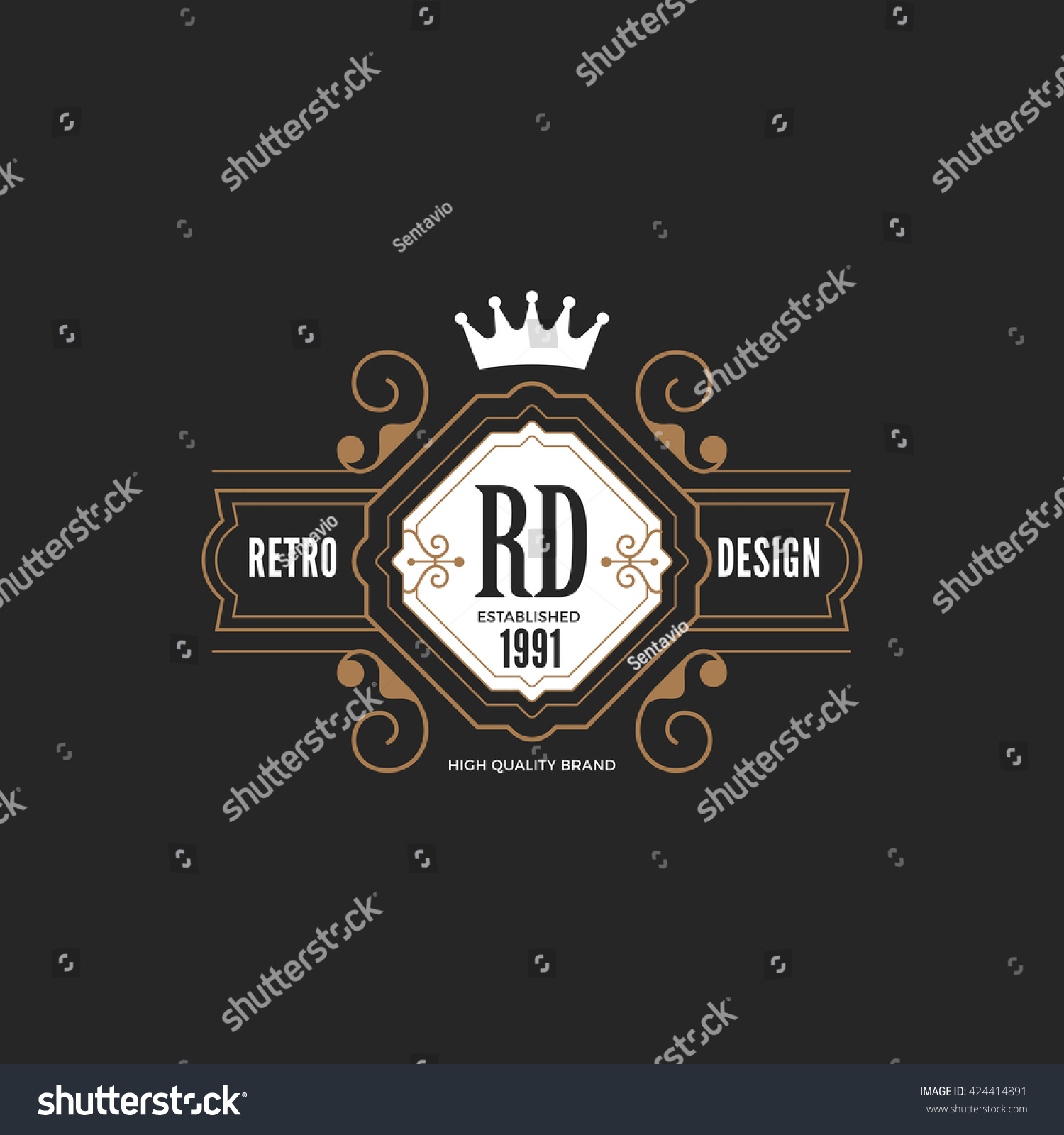 vintage label badge logo design vector stock vector 424414891 shutterstock. Black Bedroom Furniture Sets. Home Design Ideas