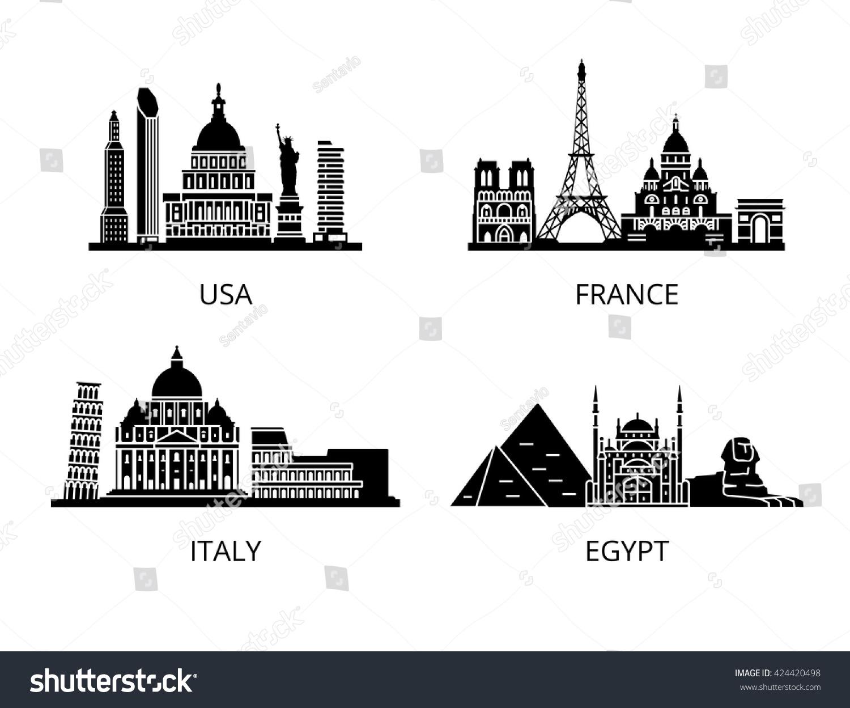 High detail landmarks silhouette stencil usa stock vektor for Landmark design