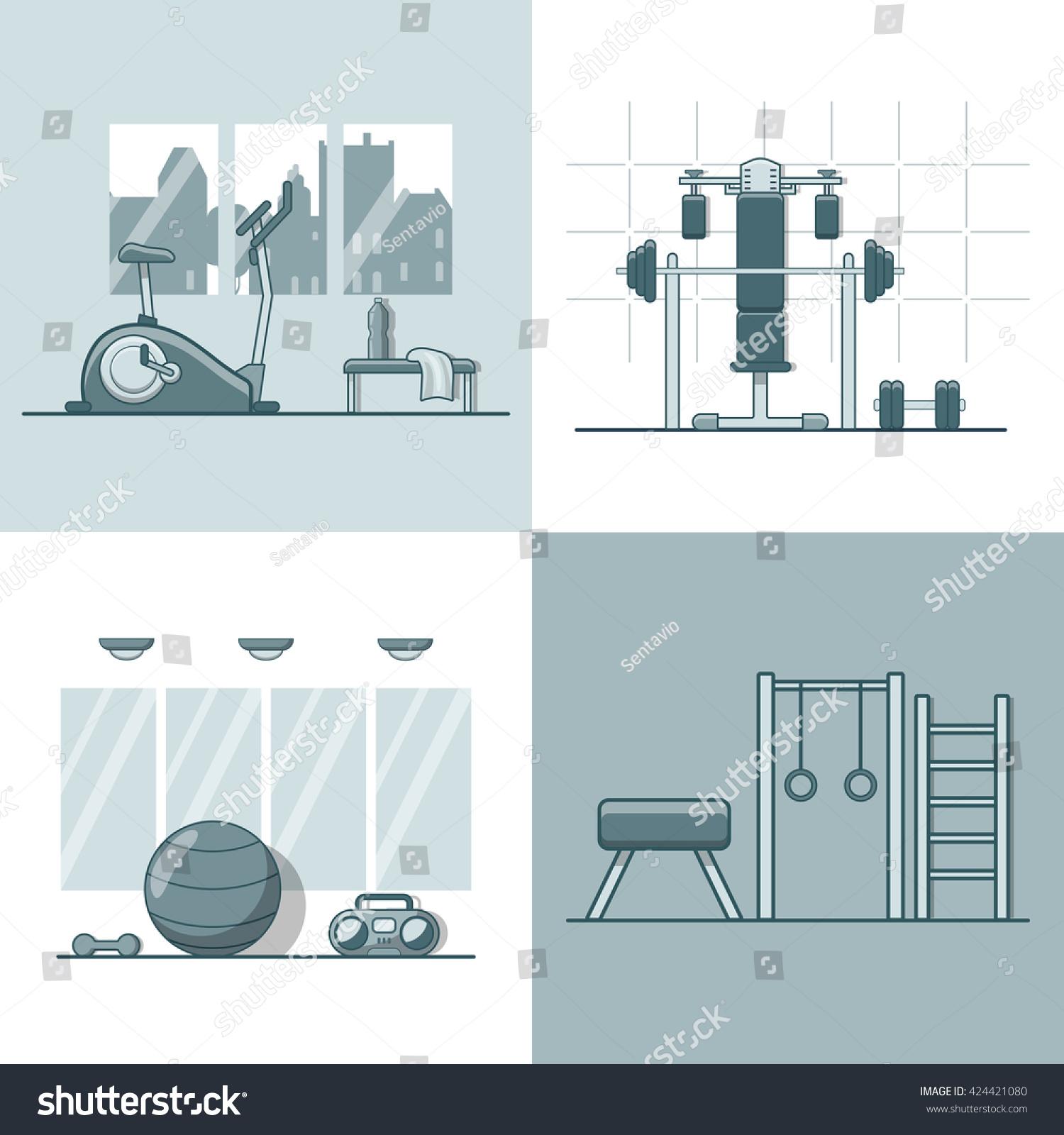 Gym exercise equipment room interior indoor stock vector